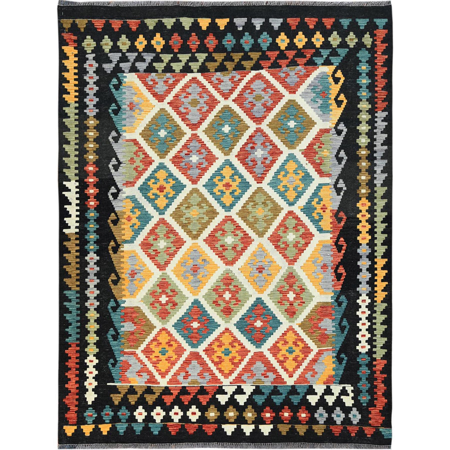 "4'10""x6'5"" Black With Pop Of Various Colors Afghan Kilim Reversible Vibrant Wool Hand Woven Oriental Rug"