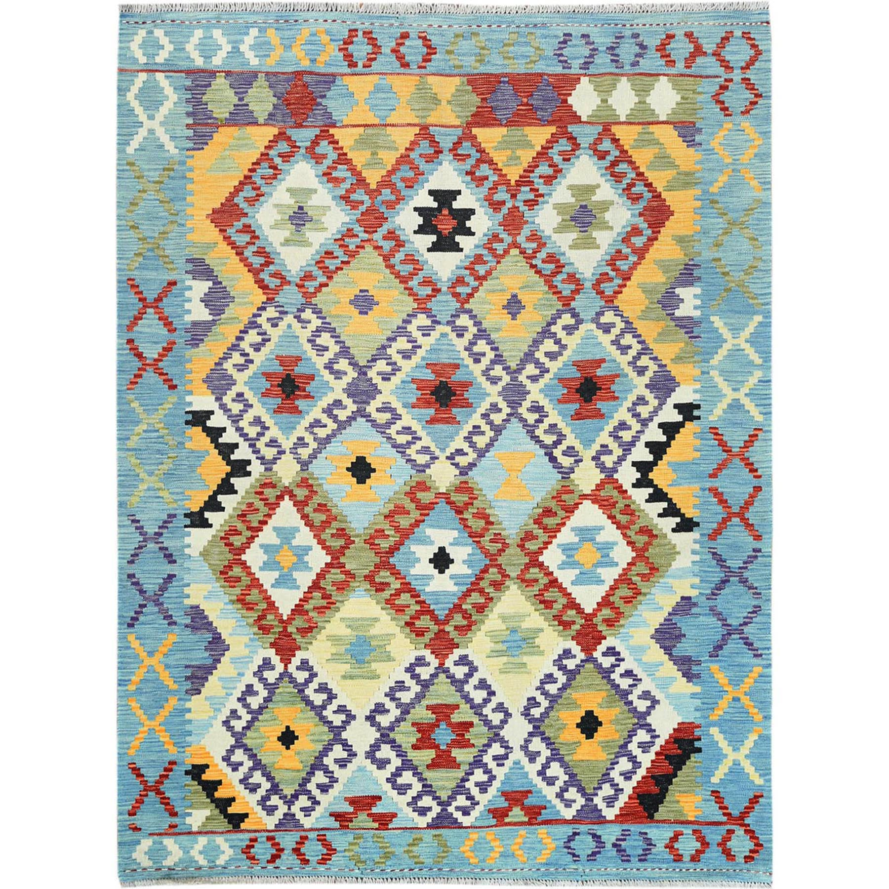 "5'x6'6"" Blue Geometric Design Afghan Kilim Reversible Soft Velvety Wool Hand Woven Oriental Rug"