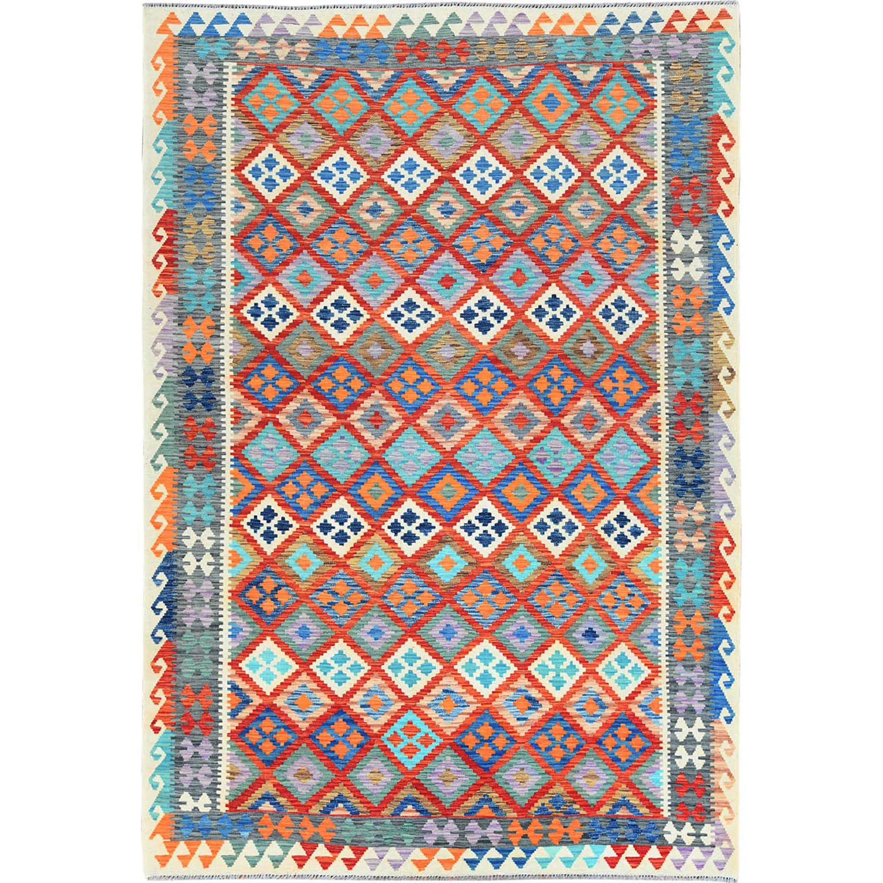 "6'8""x9'9"" Colorful Flat Weave Geometric Design Afghan Kilim Reversible Natural Wool Hand Woven Oriental Rug"