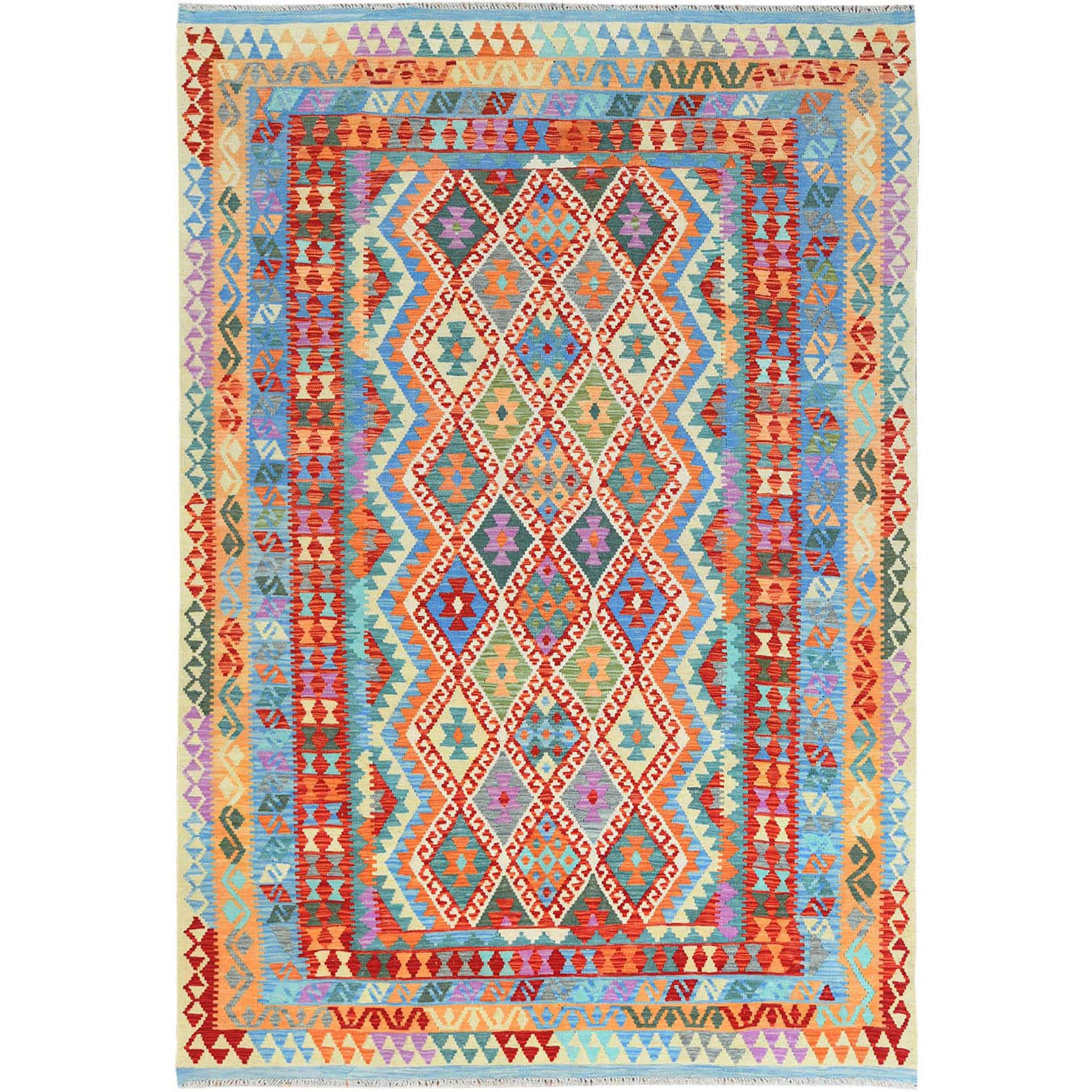 "6'7""x9'6"" Colorful Afghan Kilim With Tribal Design Reversible Glimmery Wool Hand Woven Ethnic Oriental Rug"
