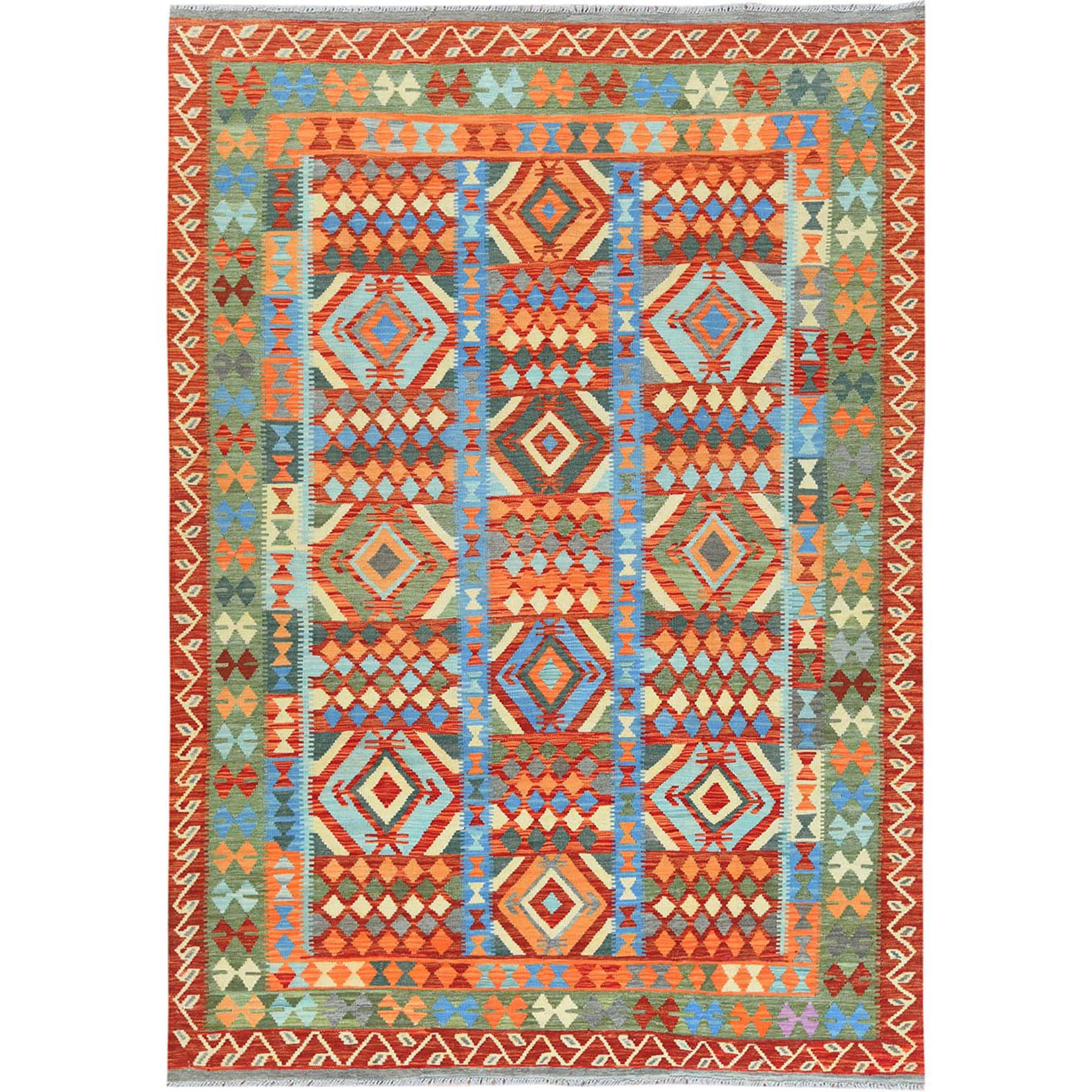 "6'7""x9'8"" Green Afghan Kilim In A Colorful Palette Geometric Design Reversible Pure Wool Hand Woven Oriental Rug"