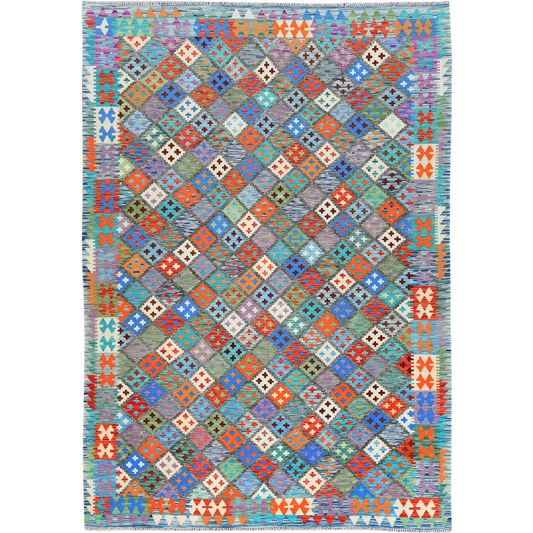"6'7""x9'7"" Blue Geometric Design Afghan Kilim With Vibrant Color Shades Velvety Wool Hand Woven Oriental Rug"