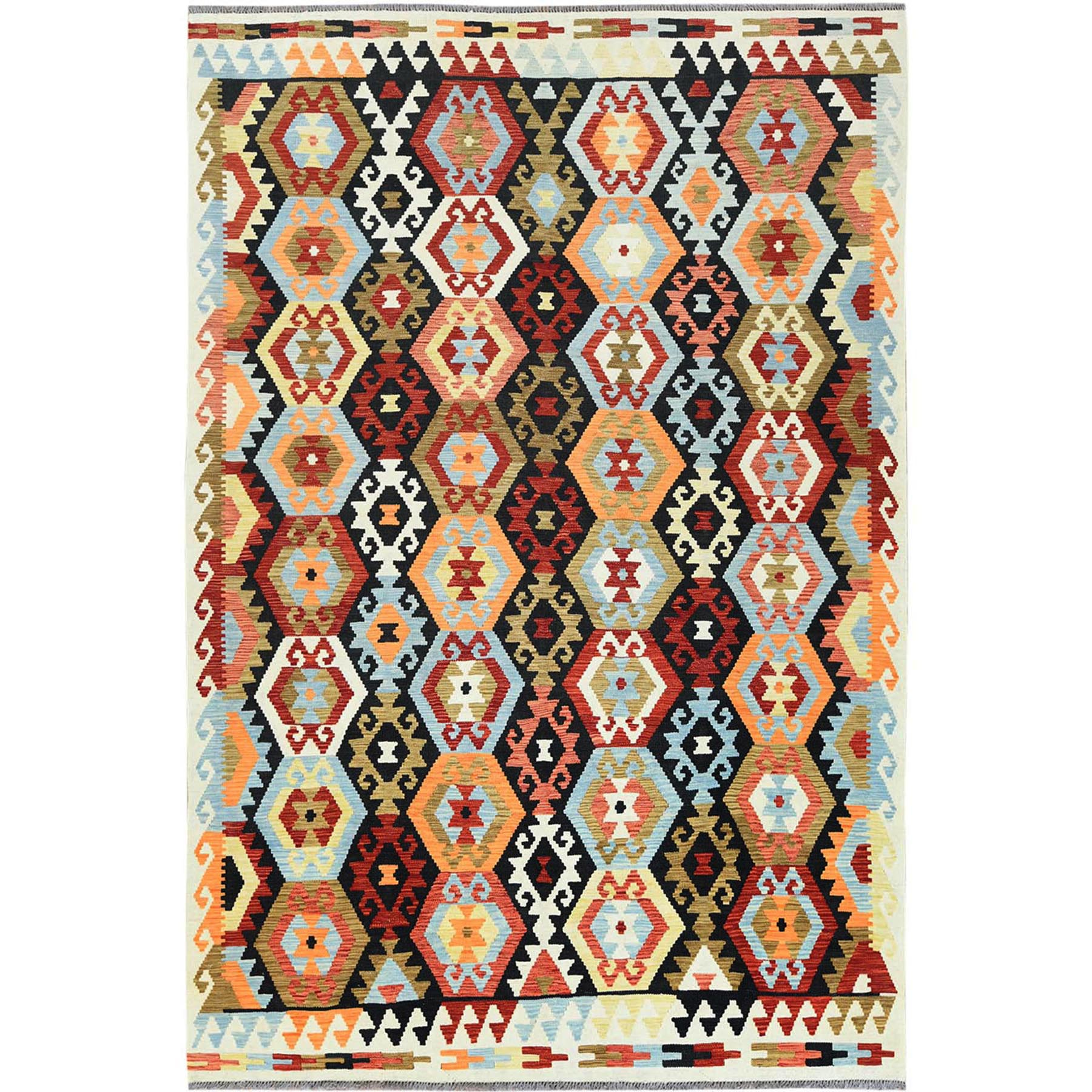 "6'5""x9'6"" Colorful Tribal Design Pure Vibrant Wool Reversible Flat Weave Afghan Kilim Hand Woven Oriental Rug"