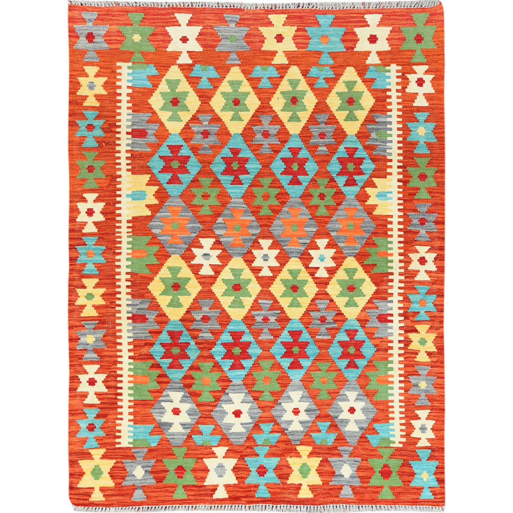 "4'2""x5'7"" Orange Geometric Design Afghan Kilim Reversible Pliable Wool Hand Woven Oriental Rug"