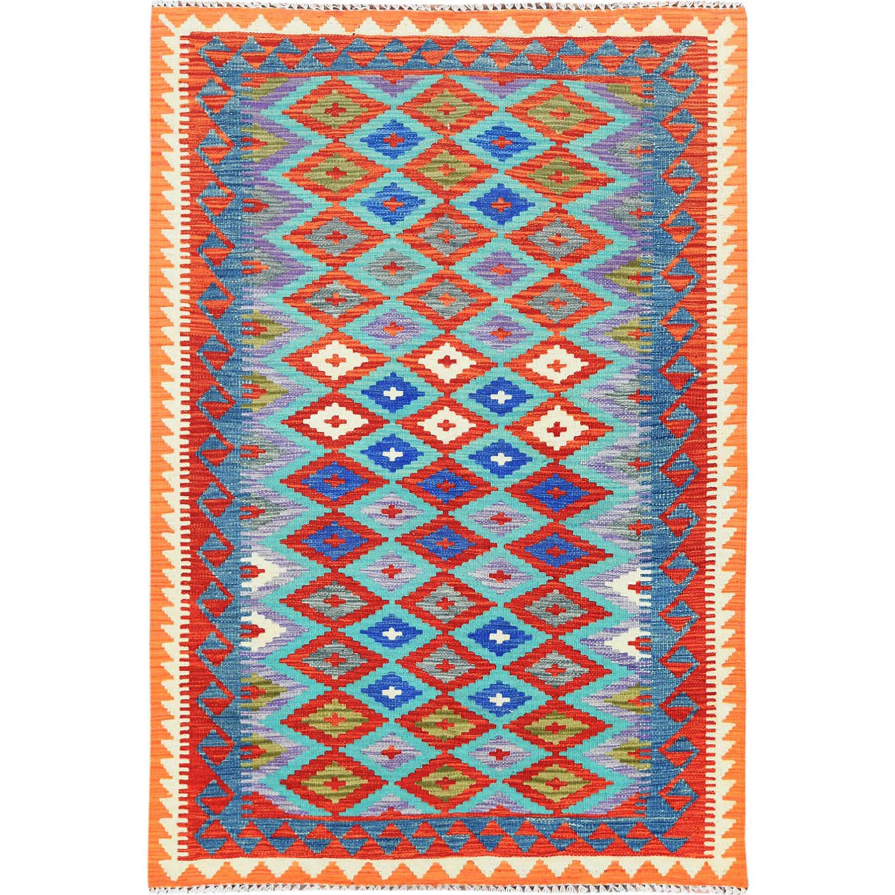 "4'1""x6' Colorful Geometric Design Shiny Wool Reversible Flat Weave Afghan Kilim Hand Woven Oriental Rug"