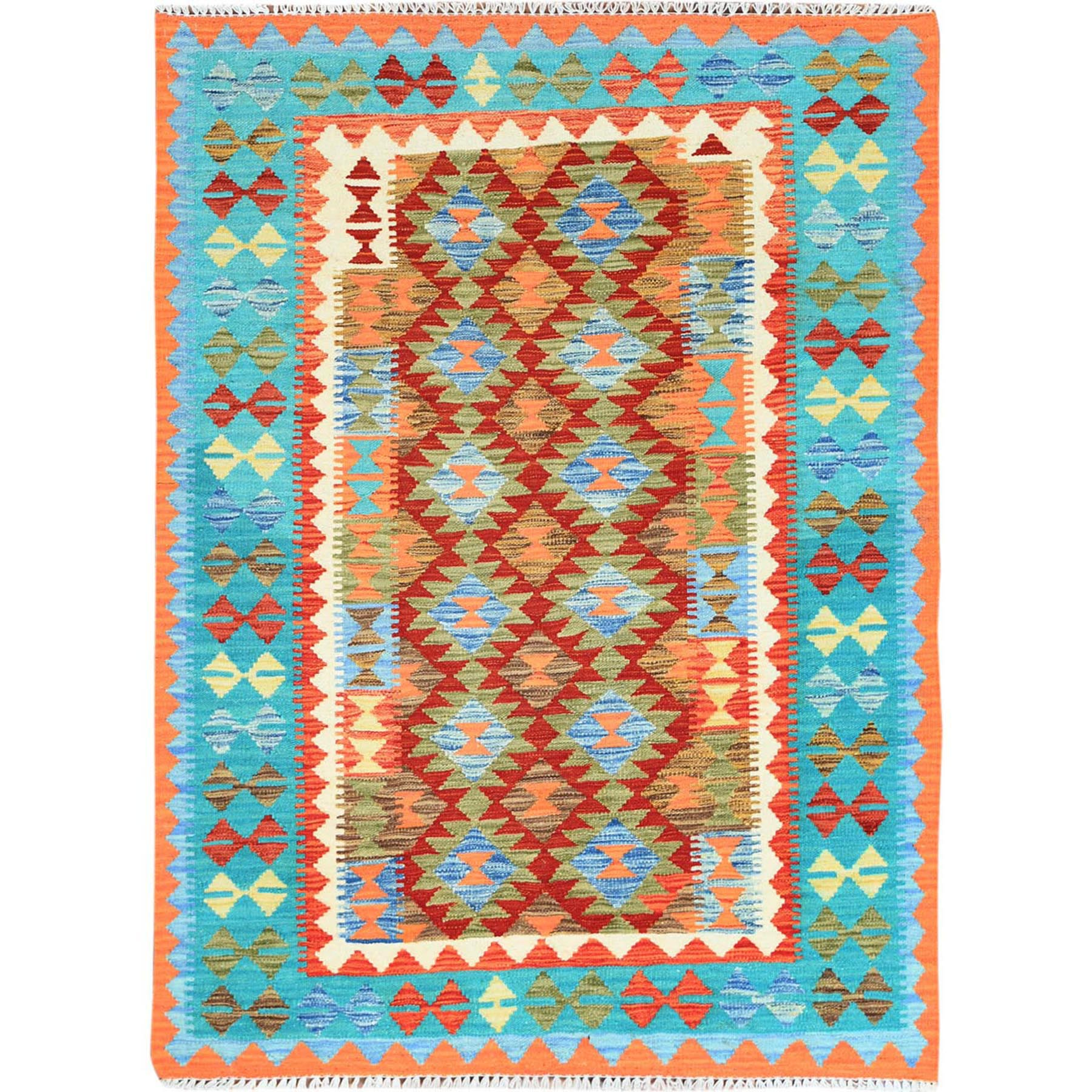 "4'2""x5'6"" Colorful Afghan Kilim Reversible Pure Vibrant Wool Hand Woven Oriental Rug"