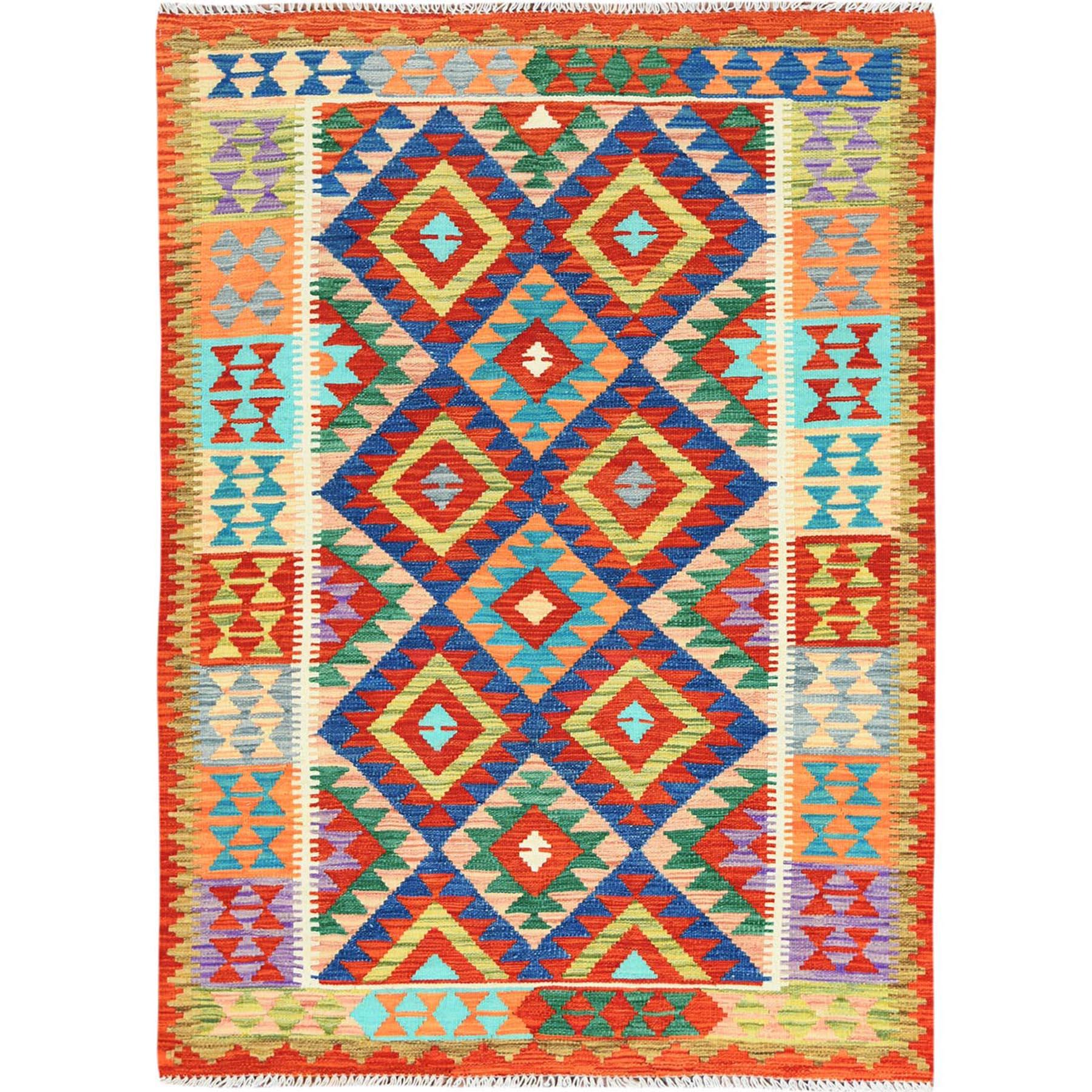 Colorful Afghan Kilim Geometric Design Flat Weave Reversible Vibrant Wool Hand Woven Oriental Rug