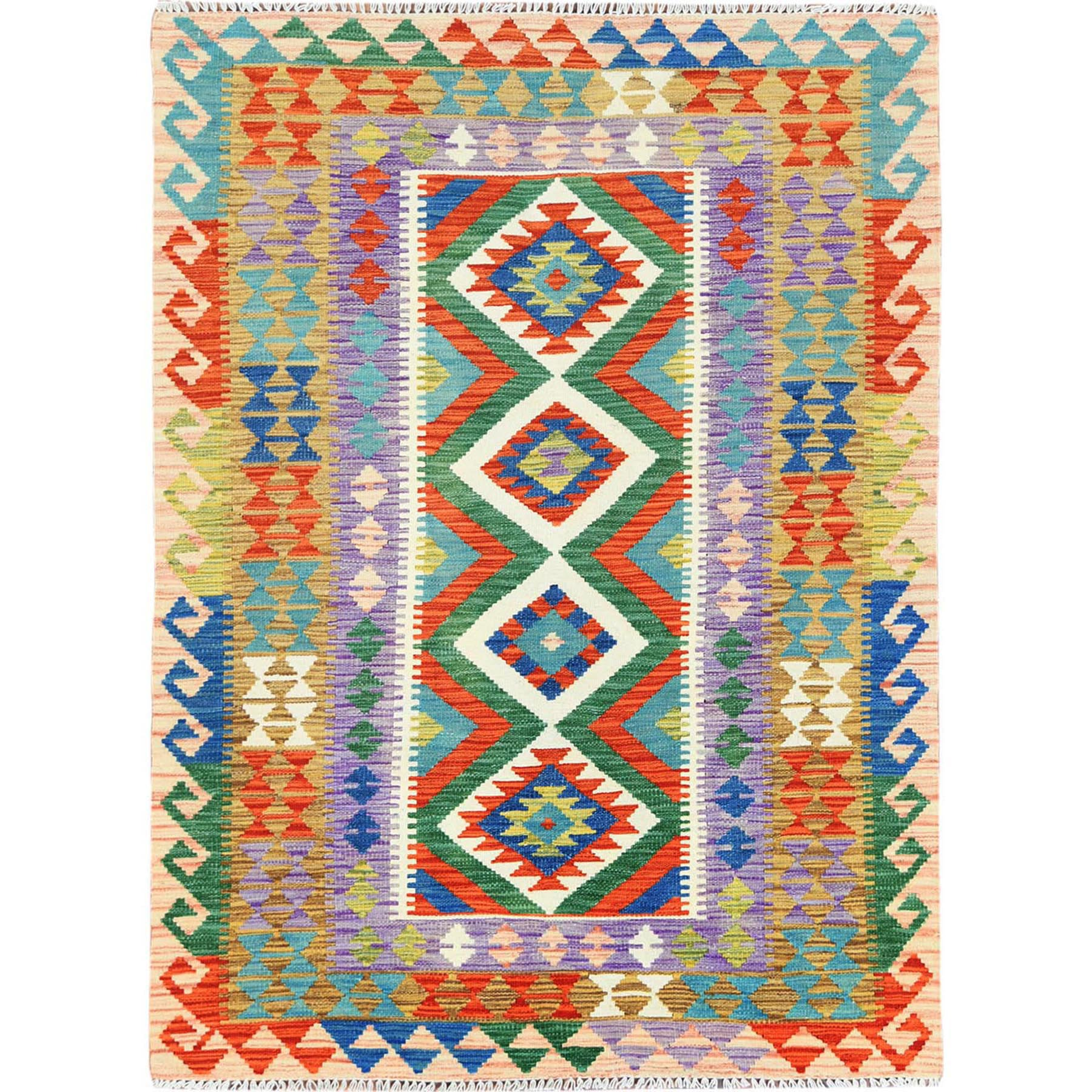 "4'2""x5'10"" Colorful Geometric Design Afghan Kilim Reversible Organic Wool Hand Woven Oriental Rug"