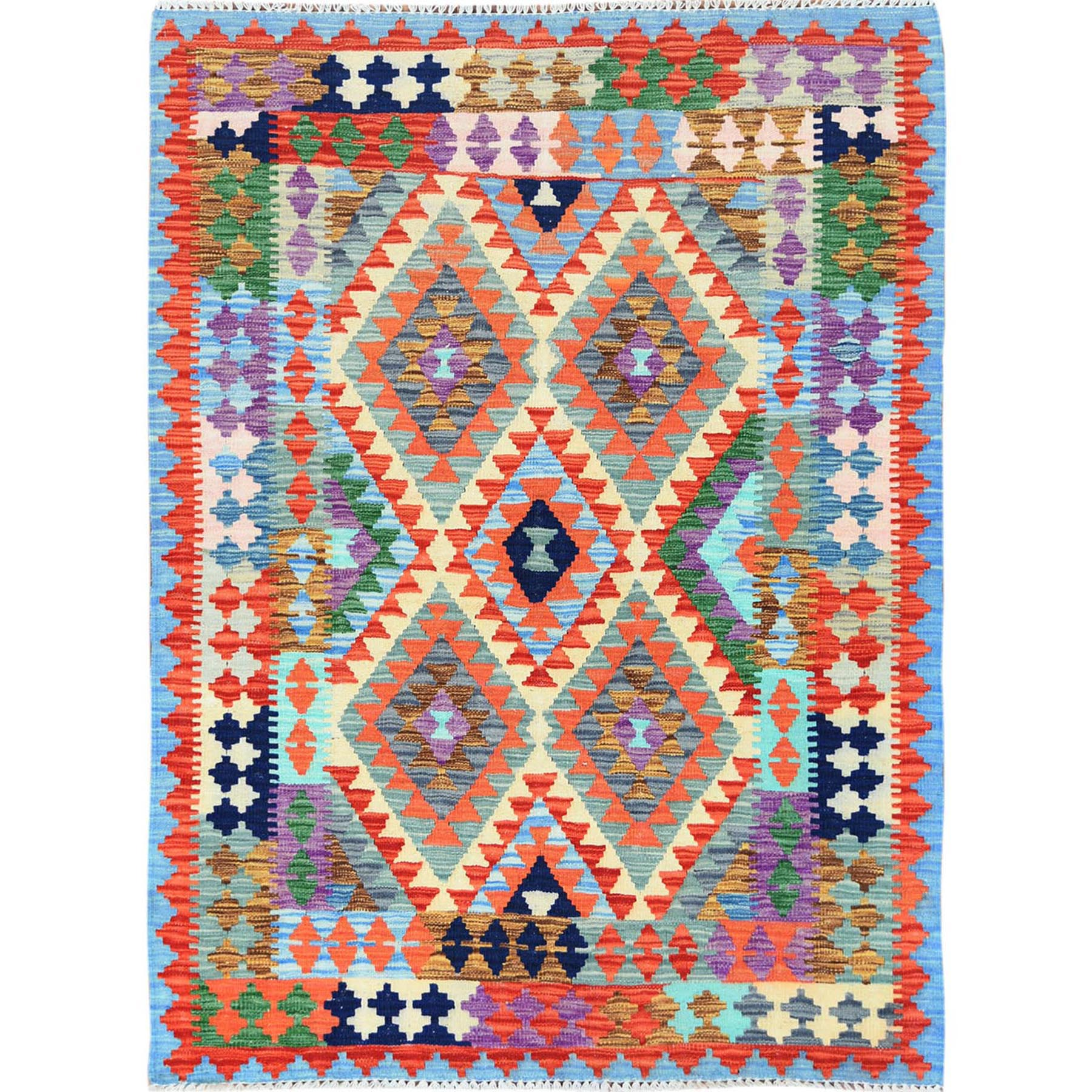 "4'2""x5'10"" Colorful Tribal Design Afghan Kilim Reversible Vibrant Organic Wool Hand Woven Oriental Rug"