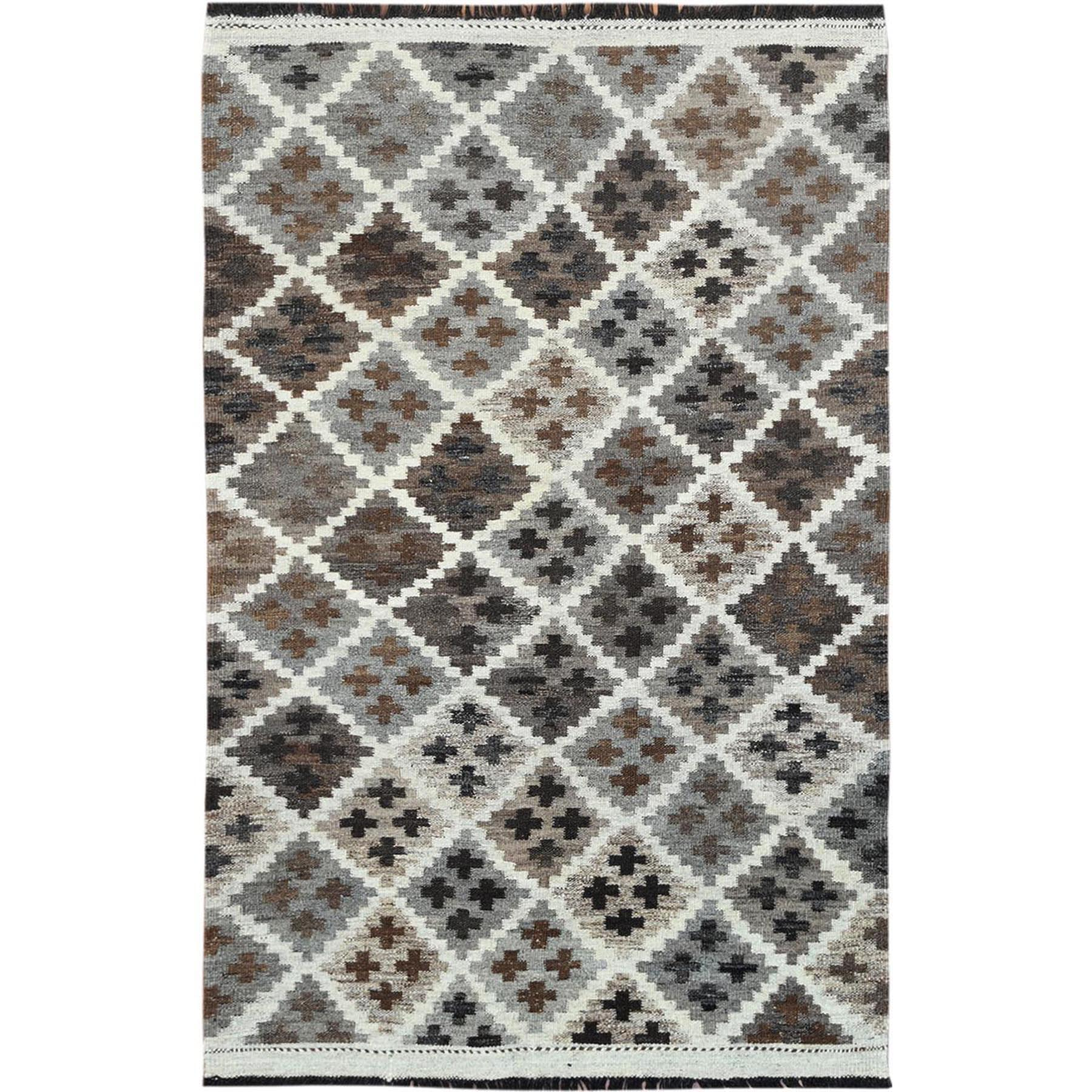 "3'2""x5' Taupe Geometric Design Afghan Kilim Reversible Undyed Organic Wool Hand Woven Oriental Rug"