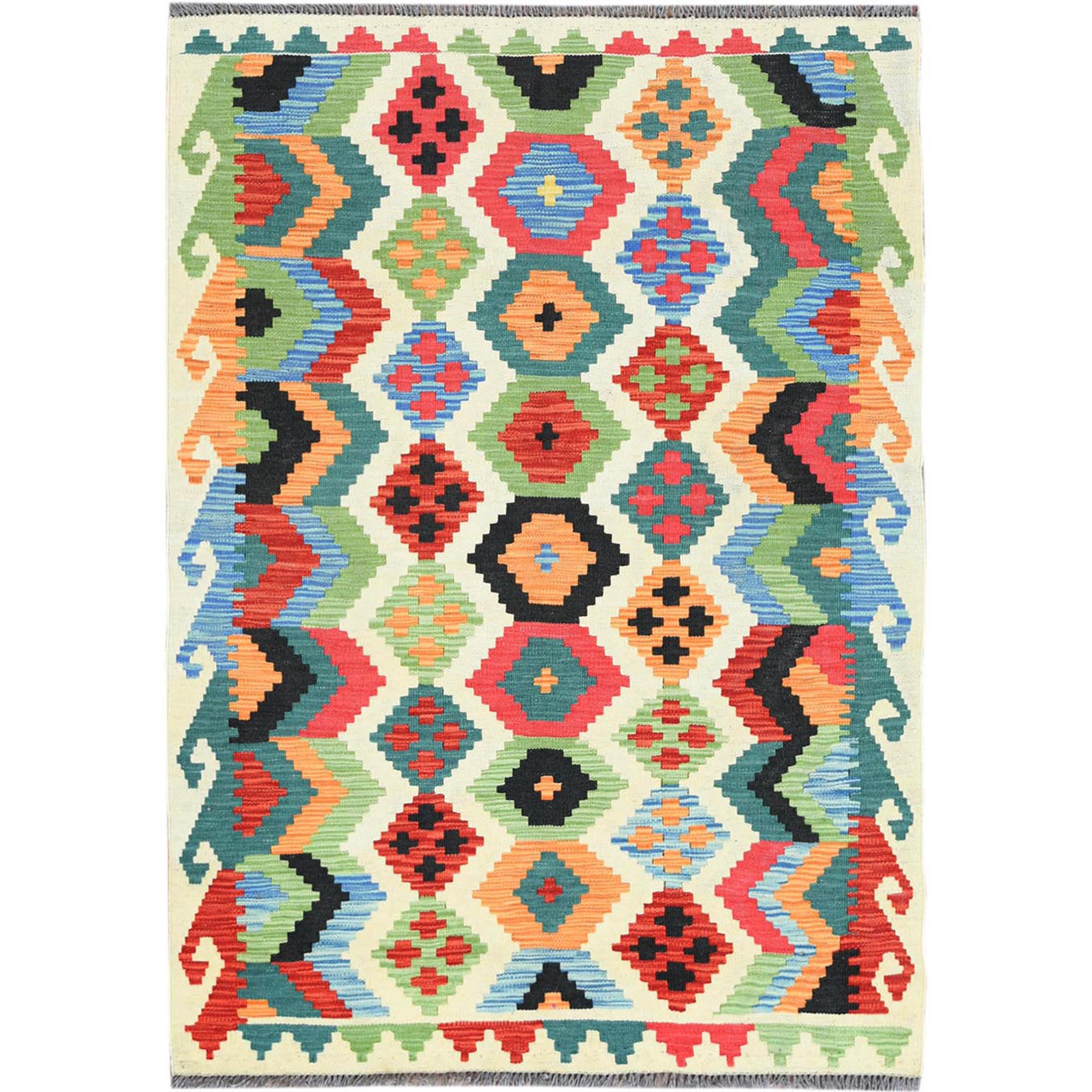 "3'4""x4'10"" Colorful Geometric Design Pure Wool Reversible Flat Weave Afghan Kilim Hand Woven Oriental Rug"