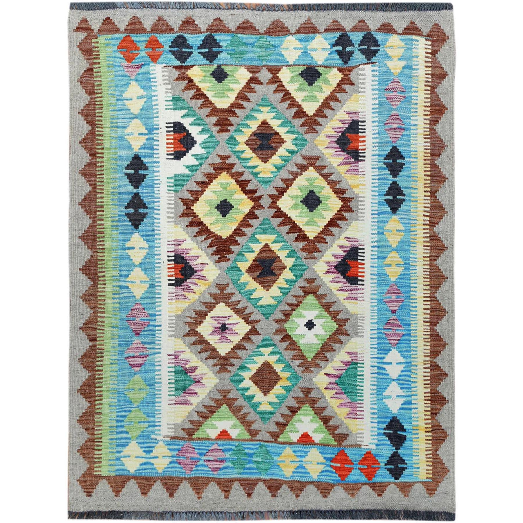 "3'5""x4'5"" Colorful Afghan Kilim Tribal Design Reversible Organic Wool Hand Woven Oriental Rug"