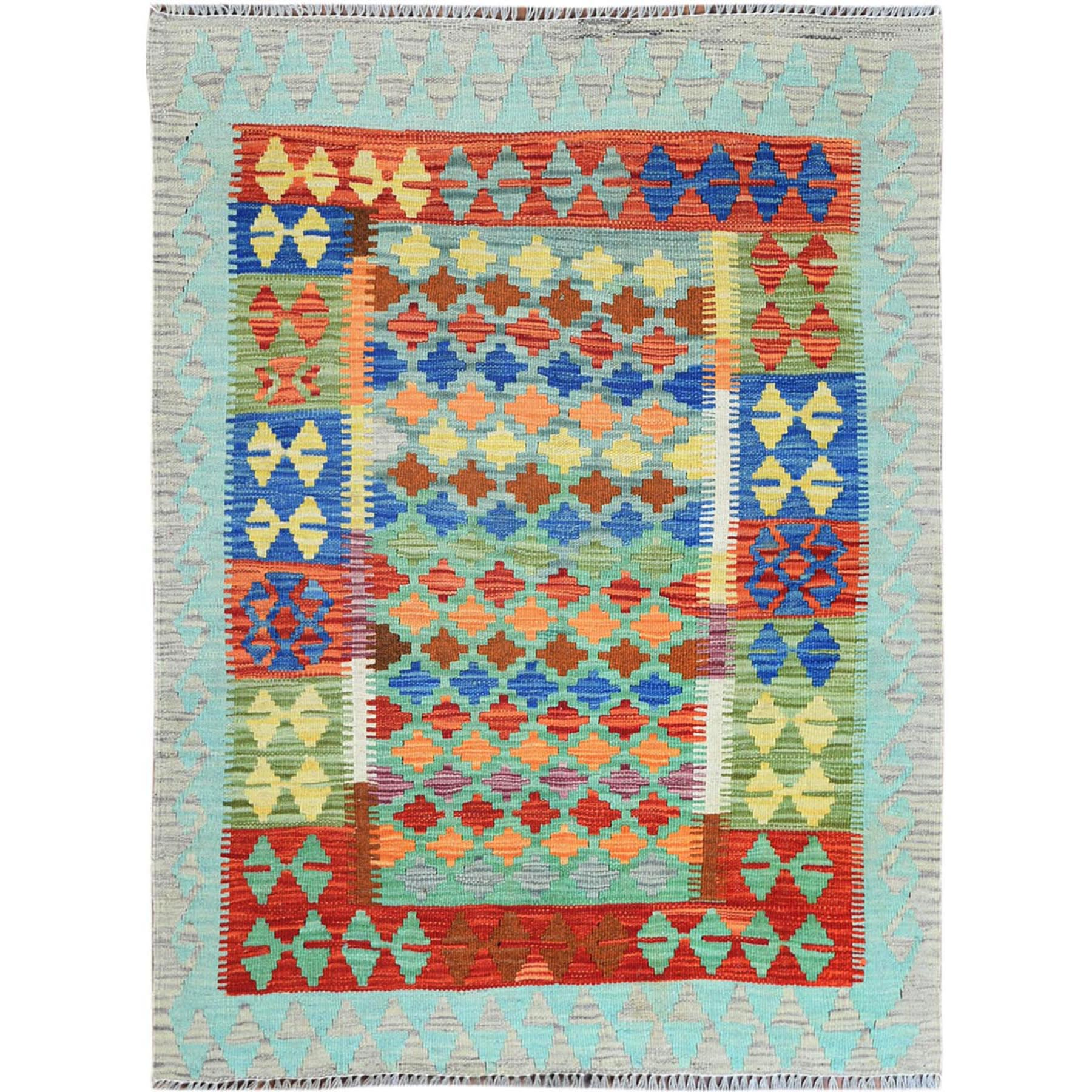 "3'3""x4'4"" Colorful Geometric Design Reversible Flat Weave Afghan Kilim Hand Woven Vibrant Wool Oriental Rug"