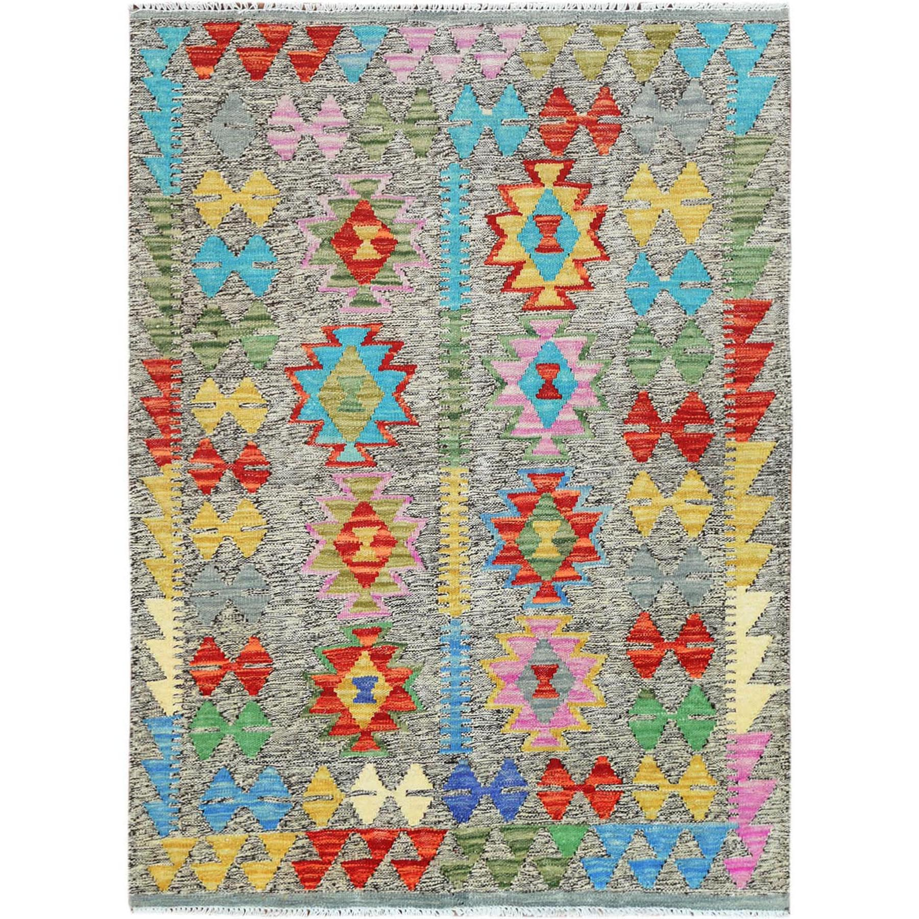 "3'4""x4'8"" Colorful Geometric Design Pure Wool Reversible Flat Weave Afghan Kilim Hand Woven Oriental Rug"