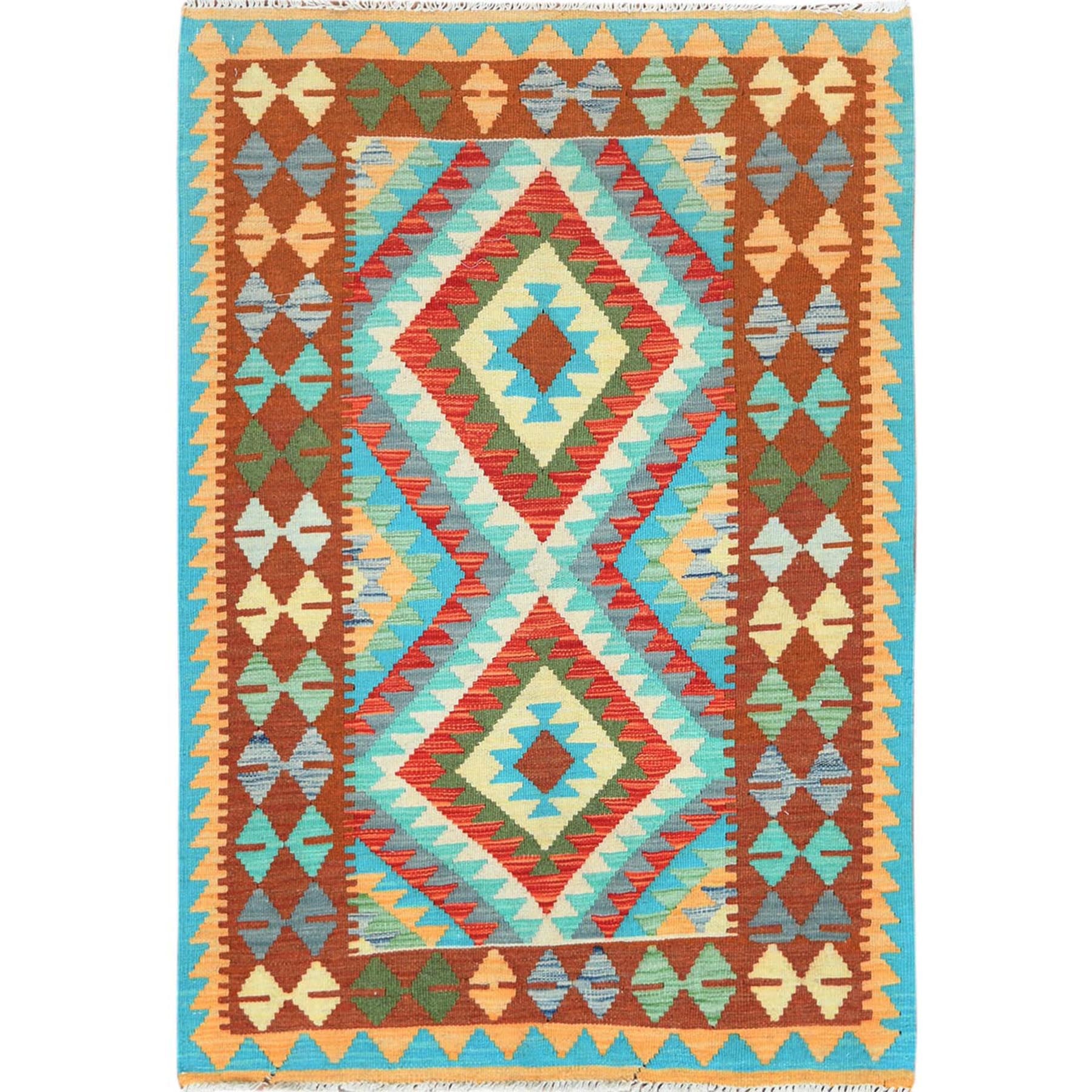 "3'3""x4'8"" Colorful Afghan Kilim Tribal Design Reversible Shiny Wool Hand Woven Oriental Rug"