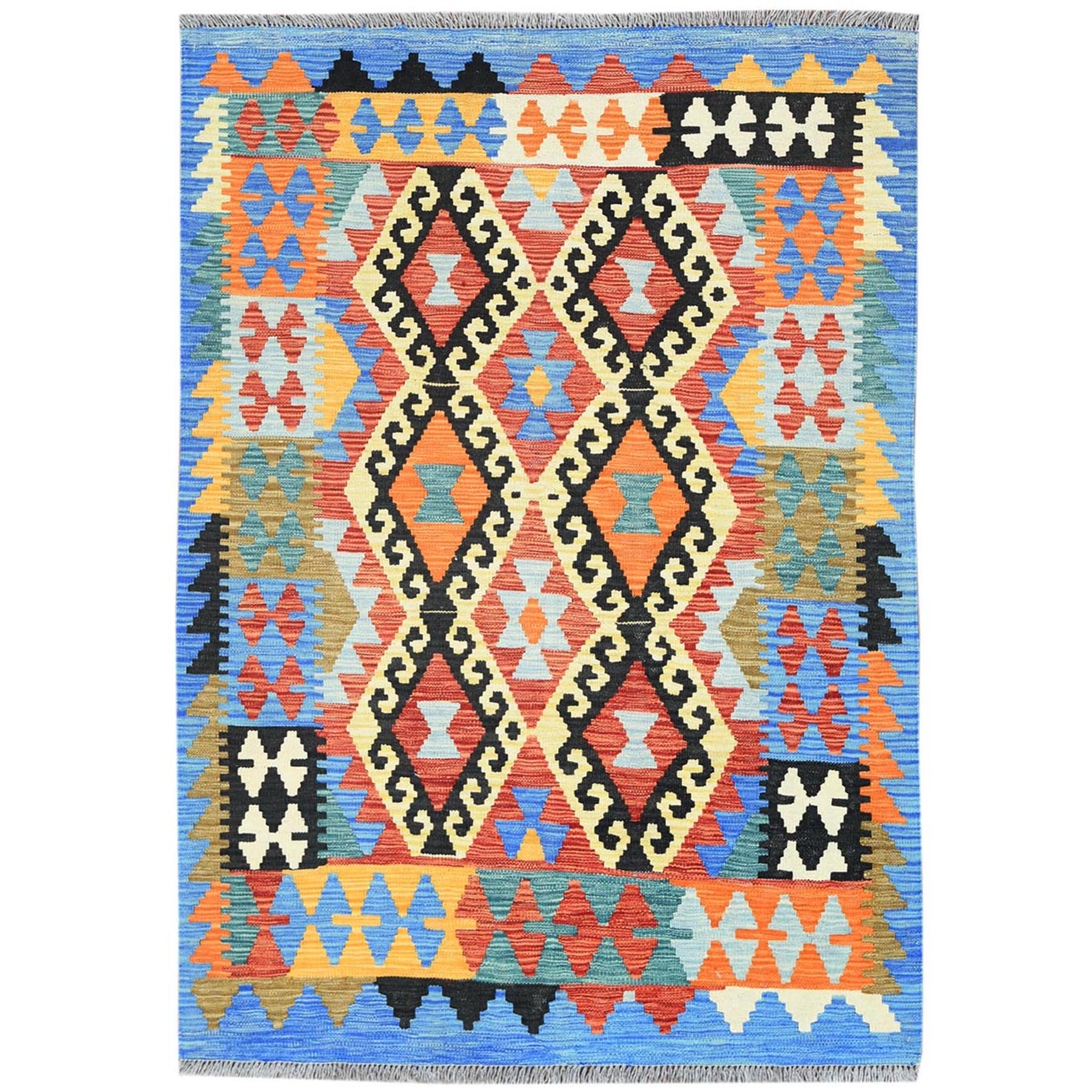 "3'6""x5' Colorful Geometric Design Afghan Kilim Reversible Pliable Wool Hand Woven Oriental Rug"
