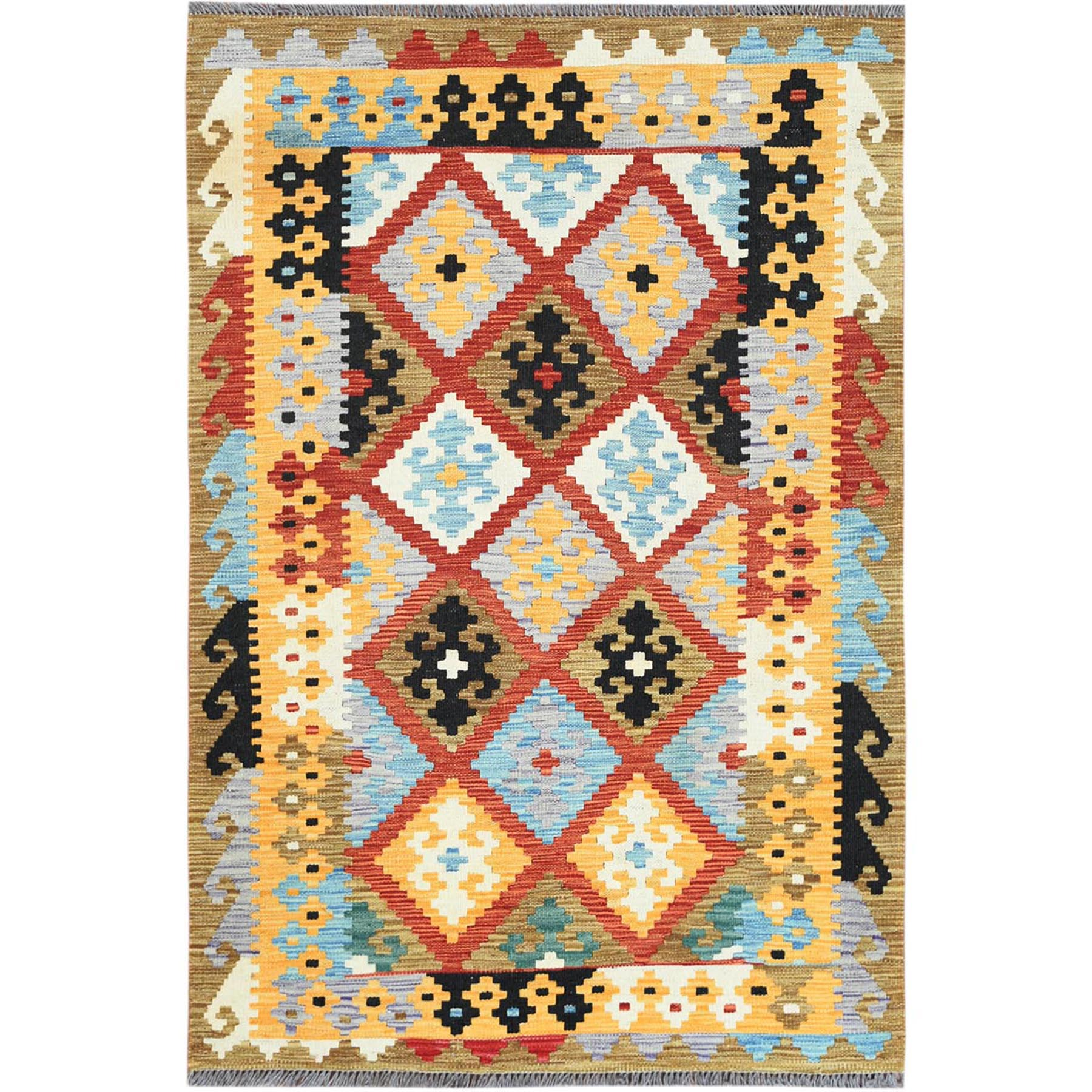 "3'4""x5' Colorful Afghan Kilim Geometric Design Organic wool Hand Woven Oriental Reversible Rug"