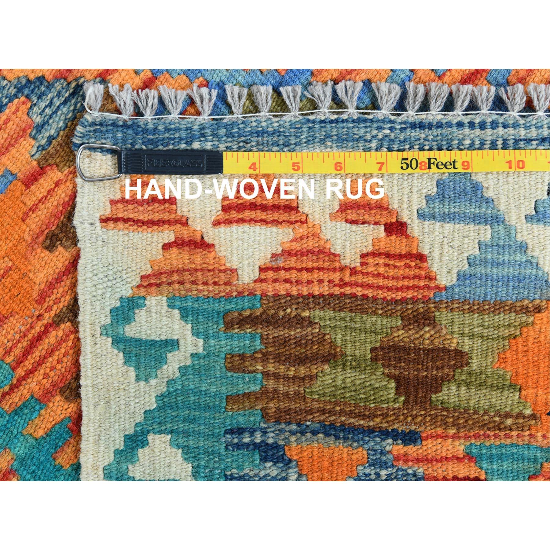 "2'6""x10' Orange Geometric Design Afghan Kilim Natural Wool Hand Woven Oriental Reversible Runner Rug"