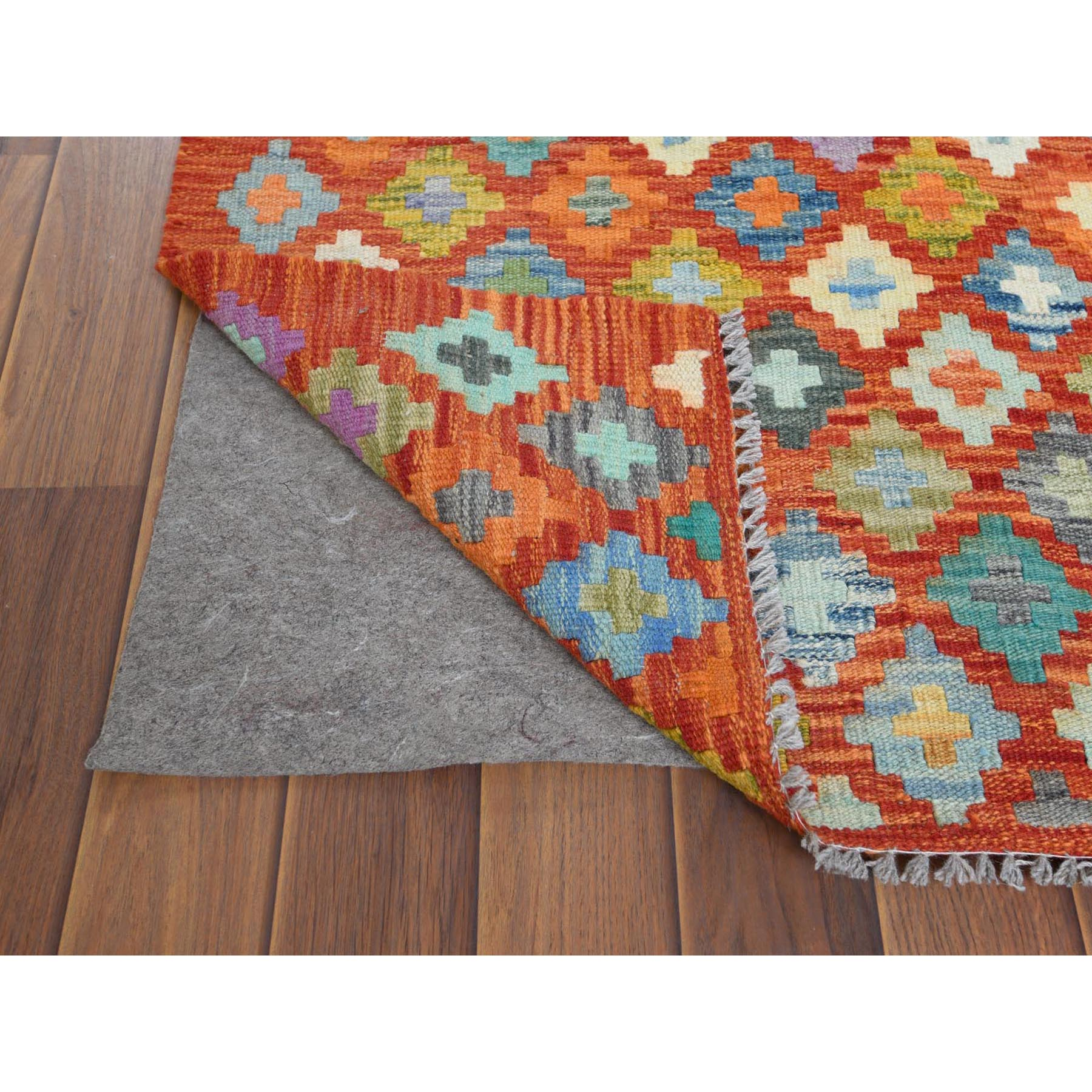 "2'9""x9'10"" Red Afghan Kilim In A Colorful Palette Geometric Design Glimmery Wool Hand Woven Oriental Runner Reversible Rug"
