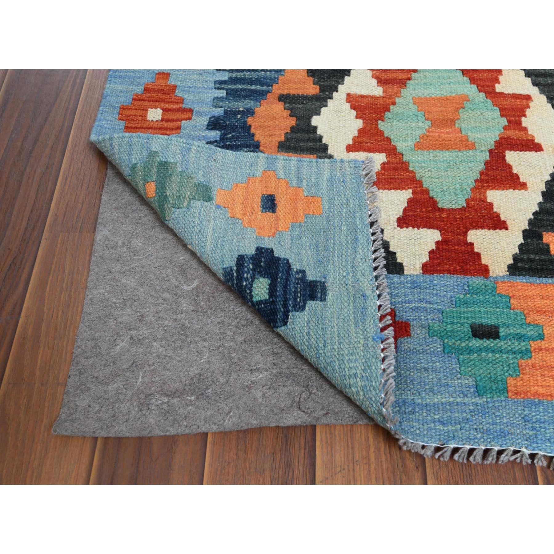 "2'6""x9'7"" Colorful Geometric Design Afghan Kilim Reversible Velvety Wool Hand Woven Oriental Runner Rug"