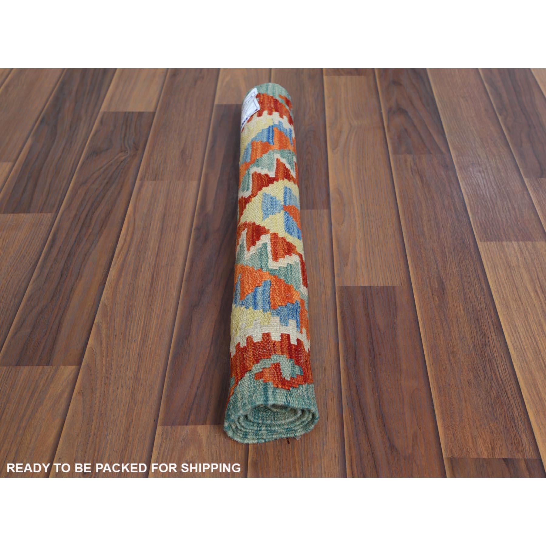 2'x3' Colorful Afghan Kilim Nomadic Design Reversible Natural Wool Hand Woven Oriental Rug