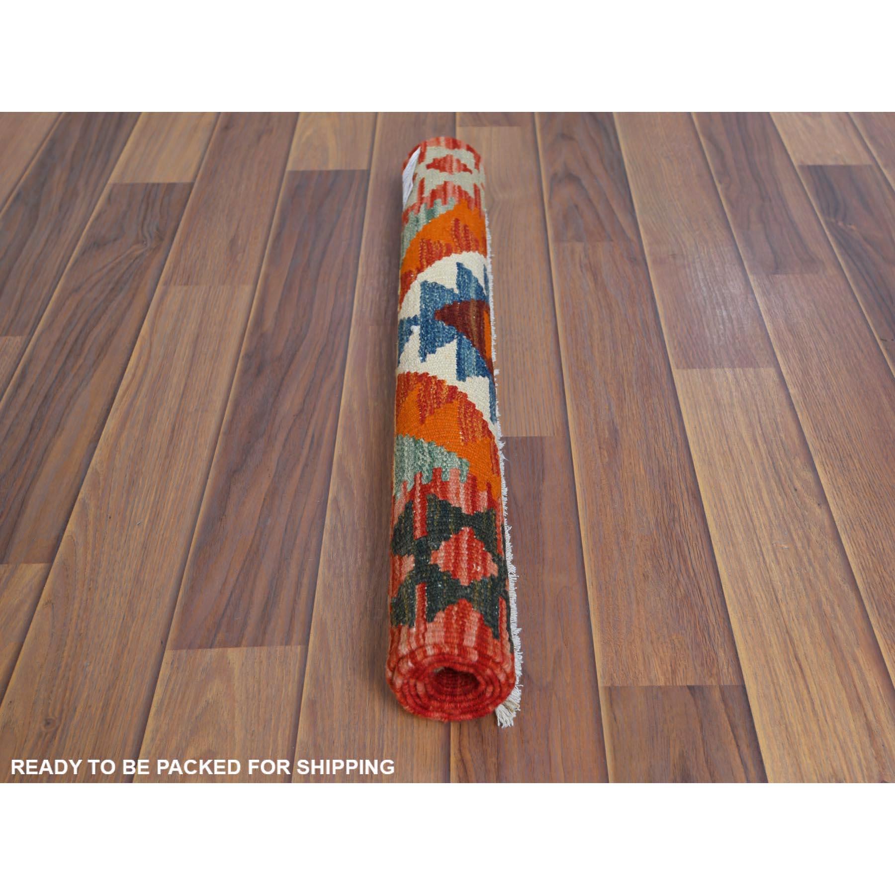 "2'1""x3'1"" Orange Geometric Design Afghan Kilim Reversible Soft And Supple Wool Hand Woven Oriental Rug"