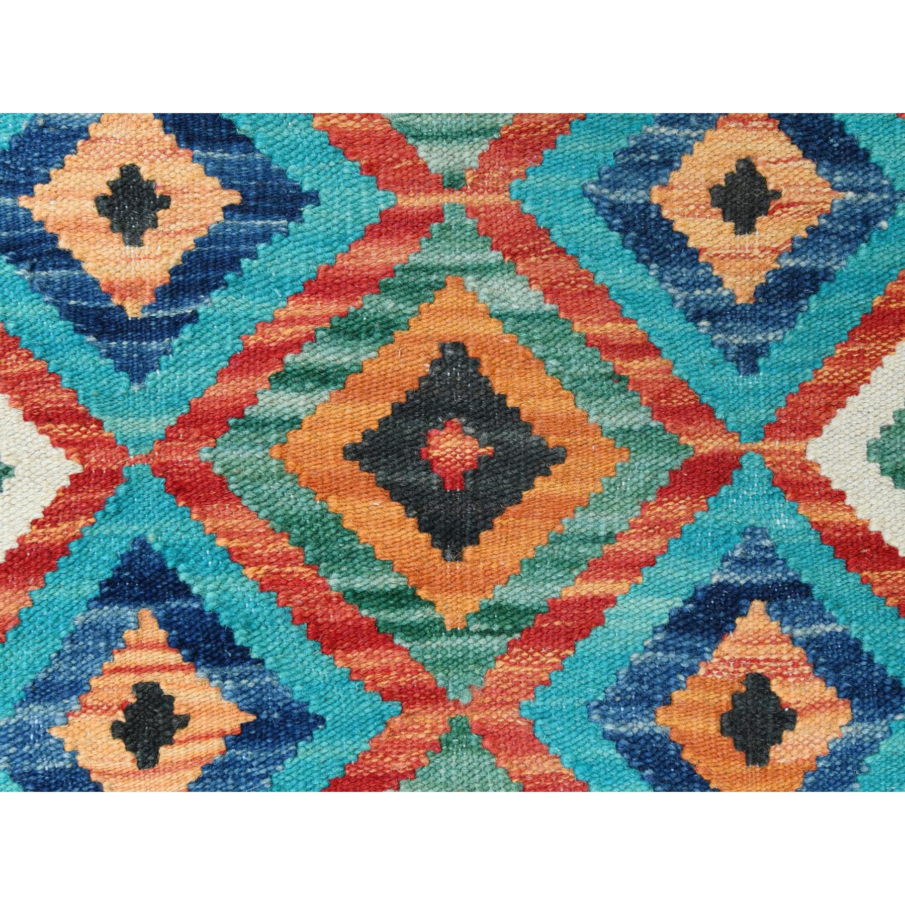 """2'4""""x3' Colorful Afghan Kilim Tribal And Geometric Design Reversible Natural Wool Hand Woven Oriental Rug"""