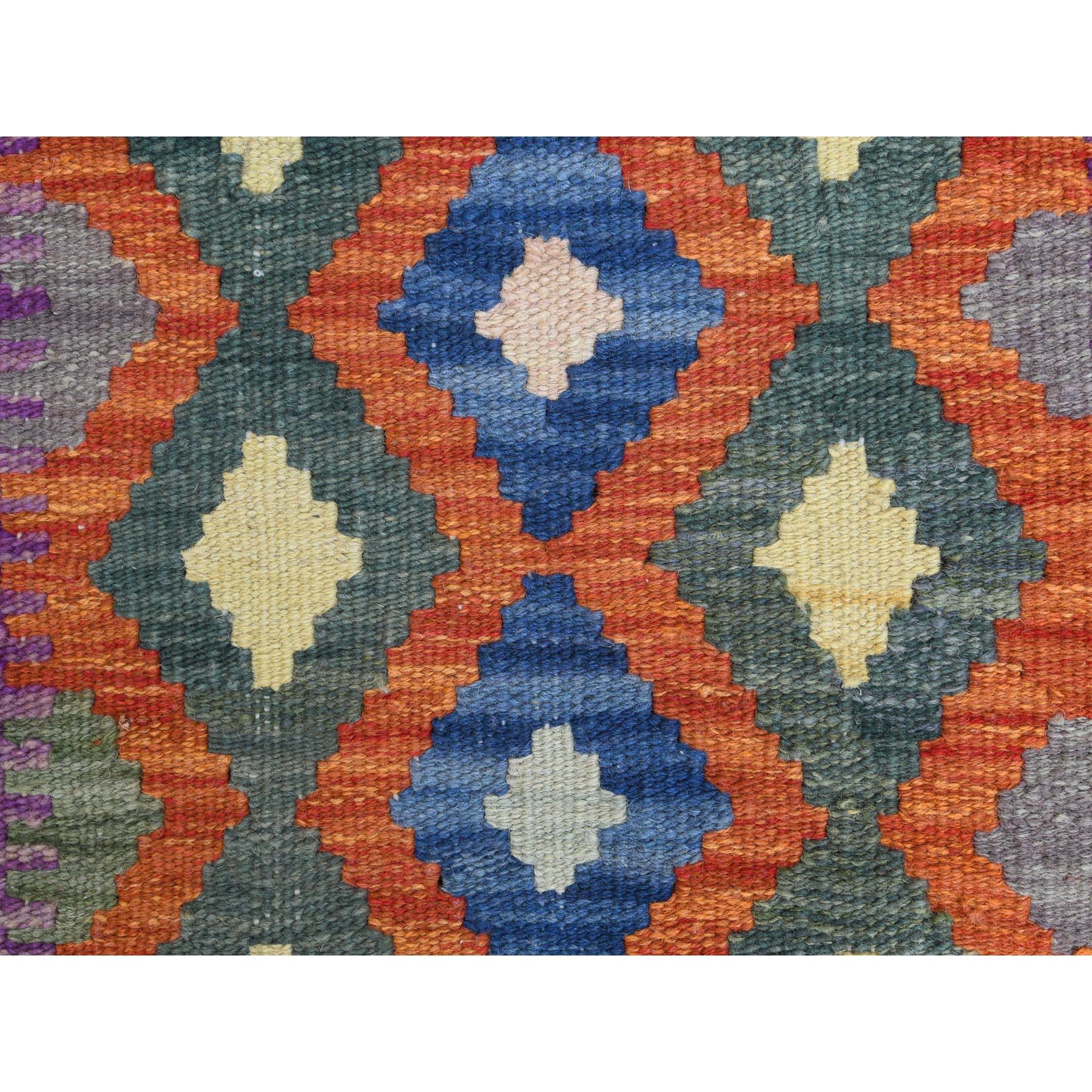 "2'1""x2'9"" Colorful Afghan Kilim Geometric Design Reversible Herbal Wash Pure Wool Hand Woven Oriental Rug"