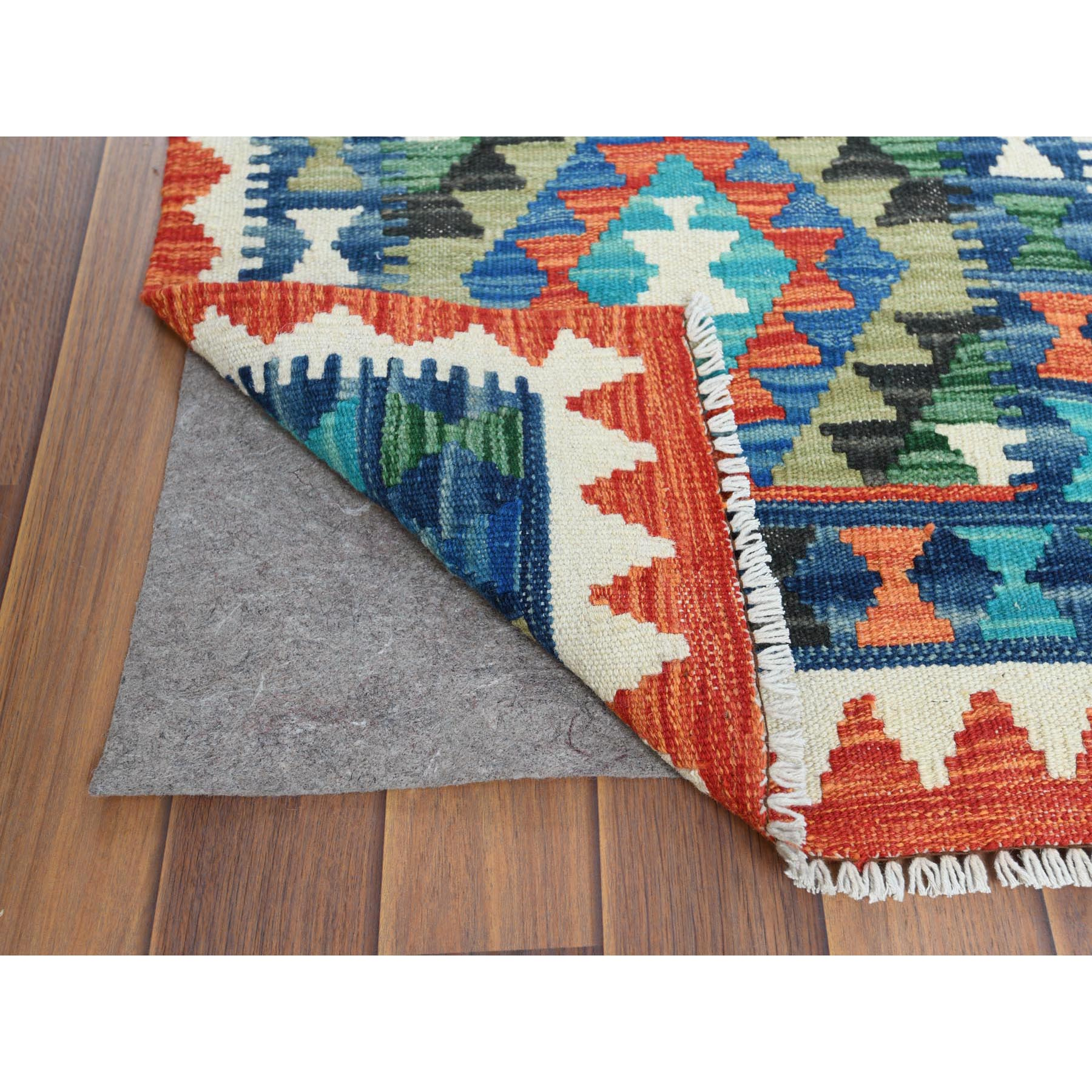 2'x3' Colorful Afghan Kilim Tribal Design Shiny Wool Reversible Flat Weave Hand Woven Oriental Rug