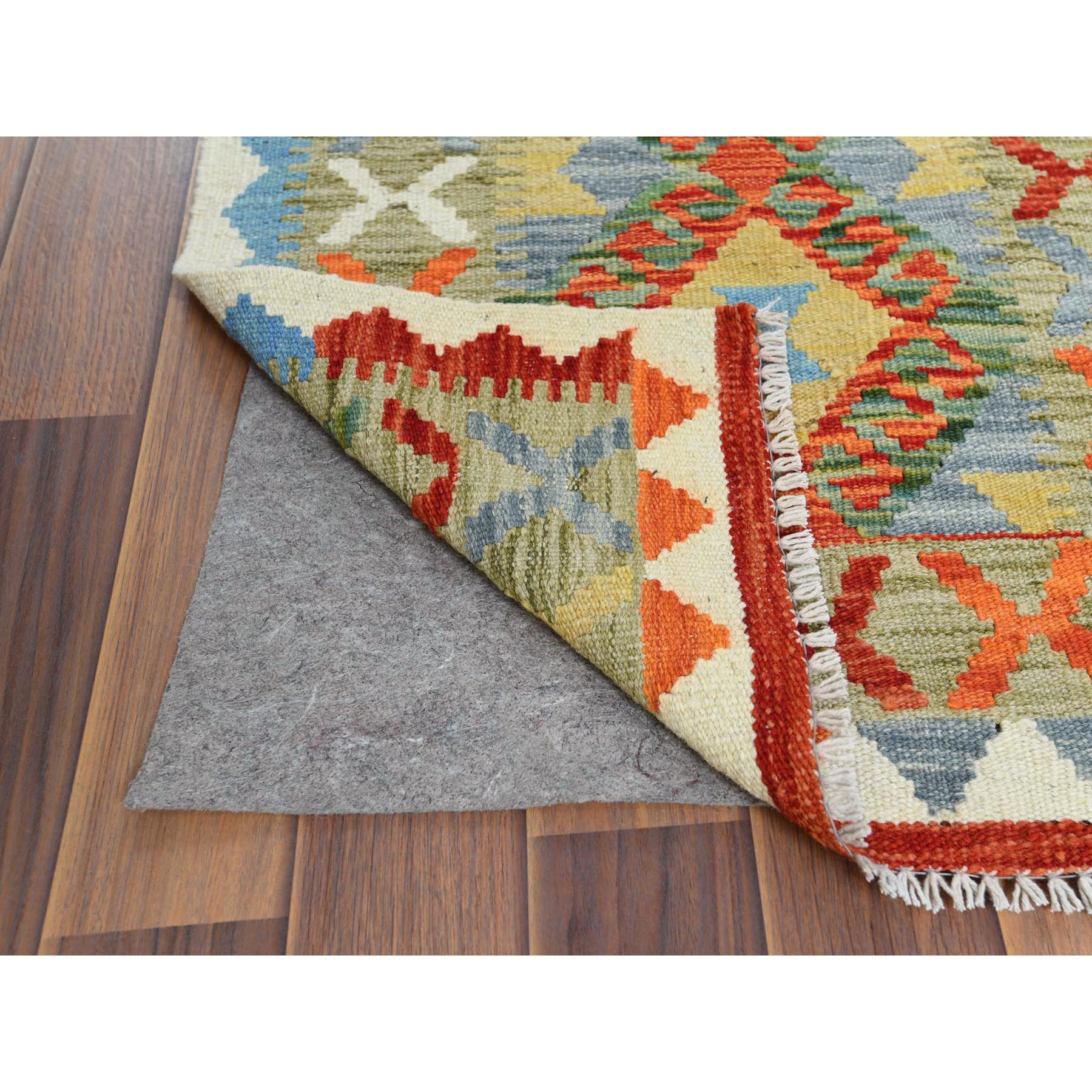 "2'x2'9"" Hand Woven Green With Vibrant Colors Geometric Design Pure Wool Reversible Flat Weave Afghan Kilim Oriental Rug"