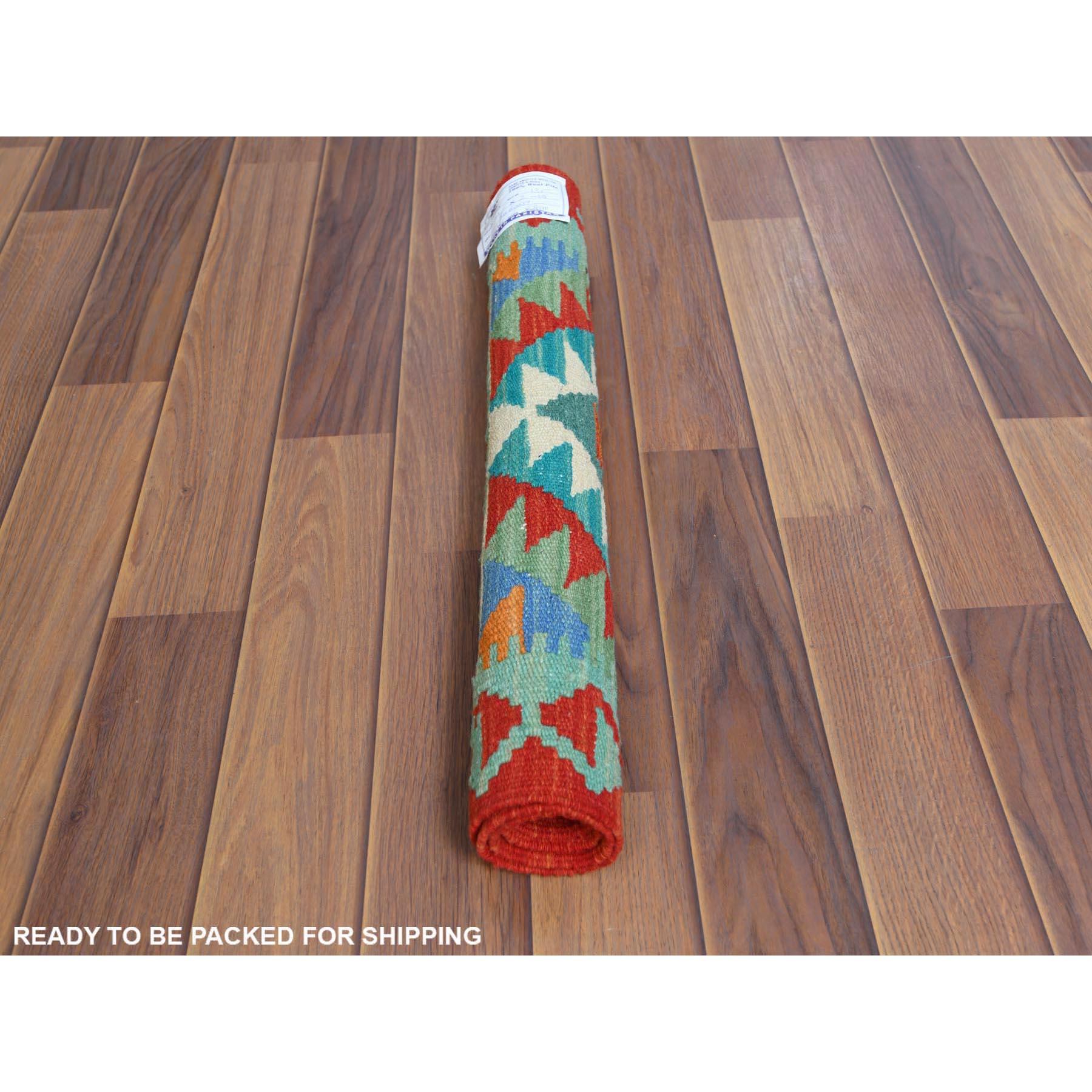 "2'1""x2'10"" Teal Afghan Kilim Tribal Design Reversible Organic Wool Hand Woven Oriental Rug"