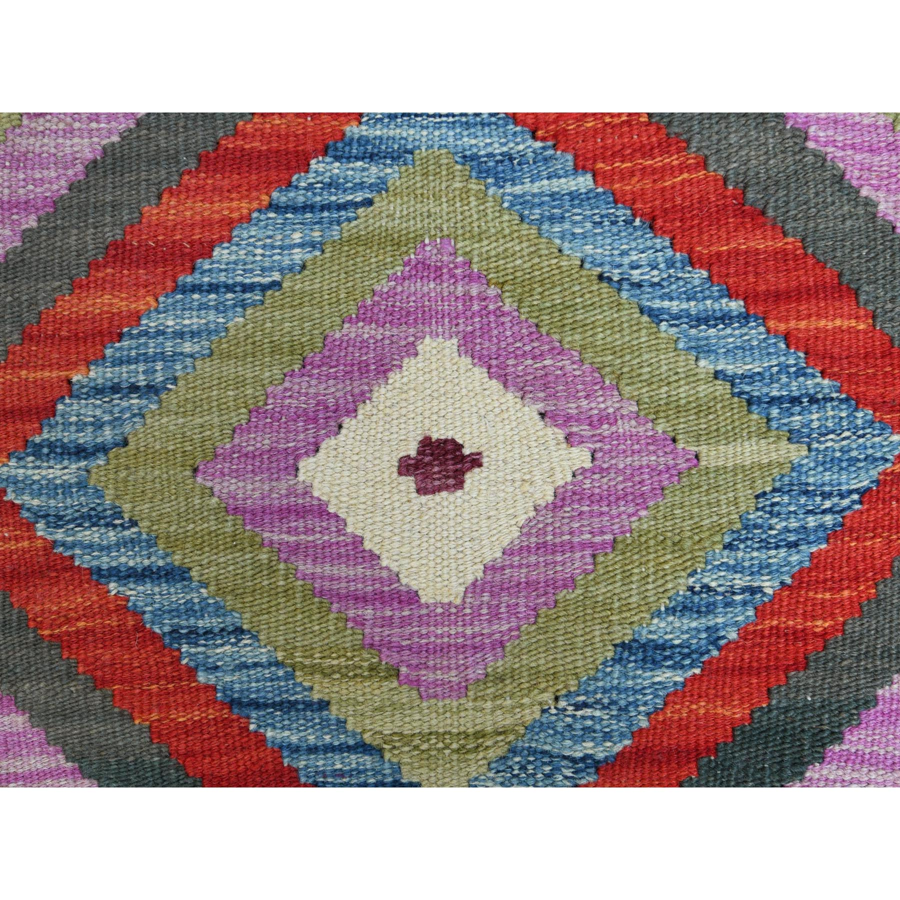 "2'7""x3'7"" Colorful Afghan Kilim Reversible, Soft To The Touch Wool Pile Hand Woven Oriental Rug"