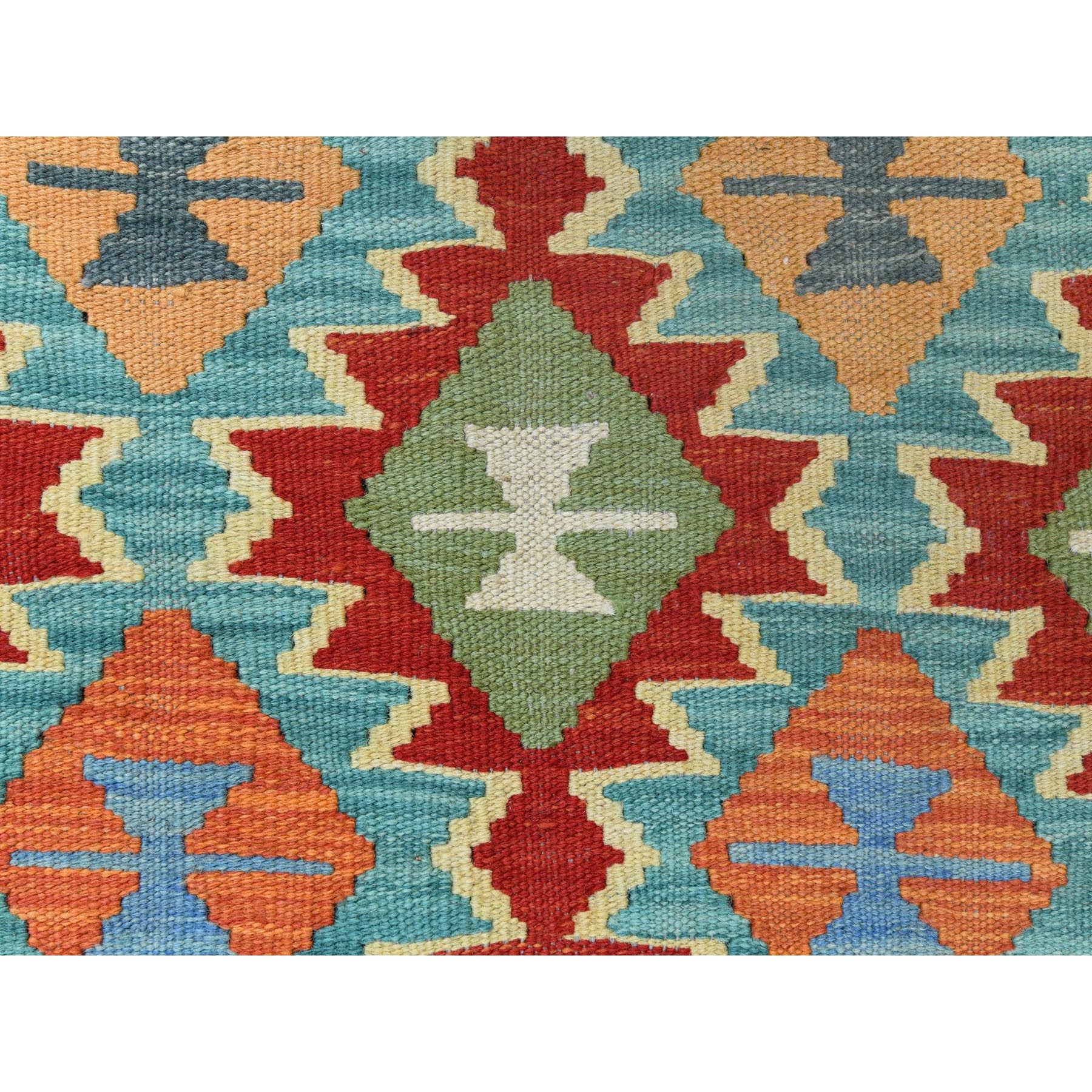 "2'10""x4'2"" Colorful Geometric Design Afghan Kilim Reversible Luxurious Wool Hand Woven Oriental Rug"