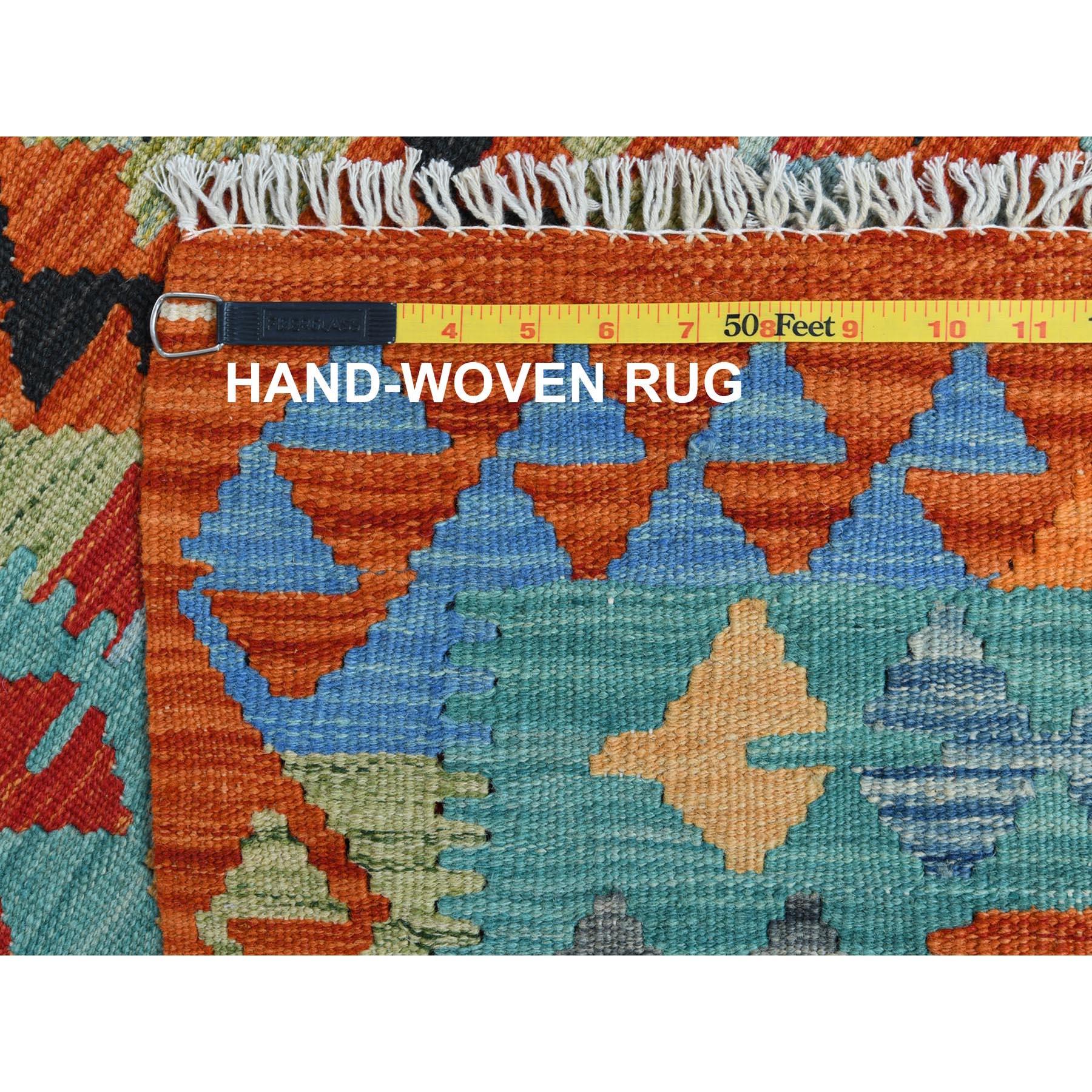 "2'8""x3'10"" Colorful Geometric Design Afghan Kilim Reversible Pliable Wool Hand Woven Oriental Rug"