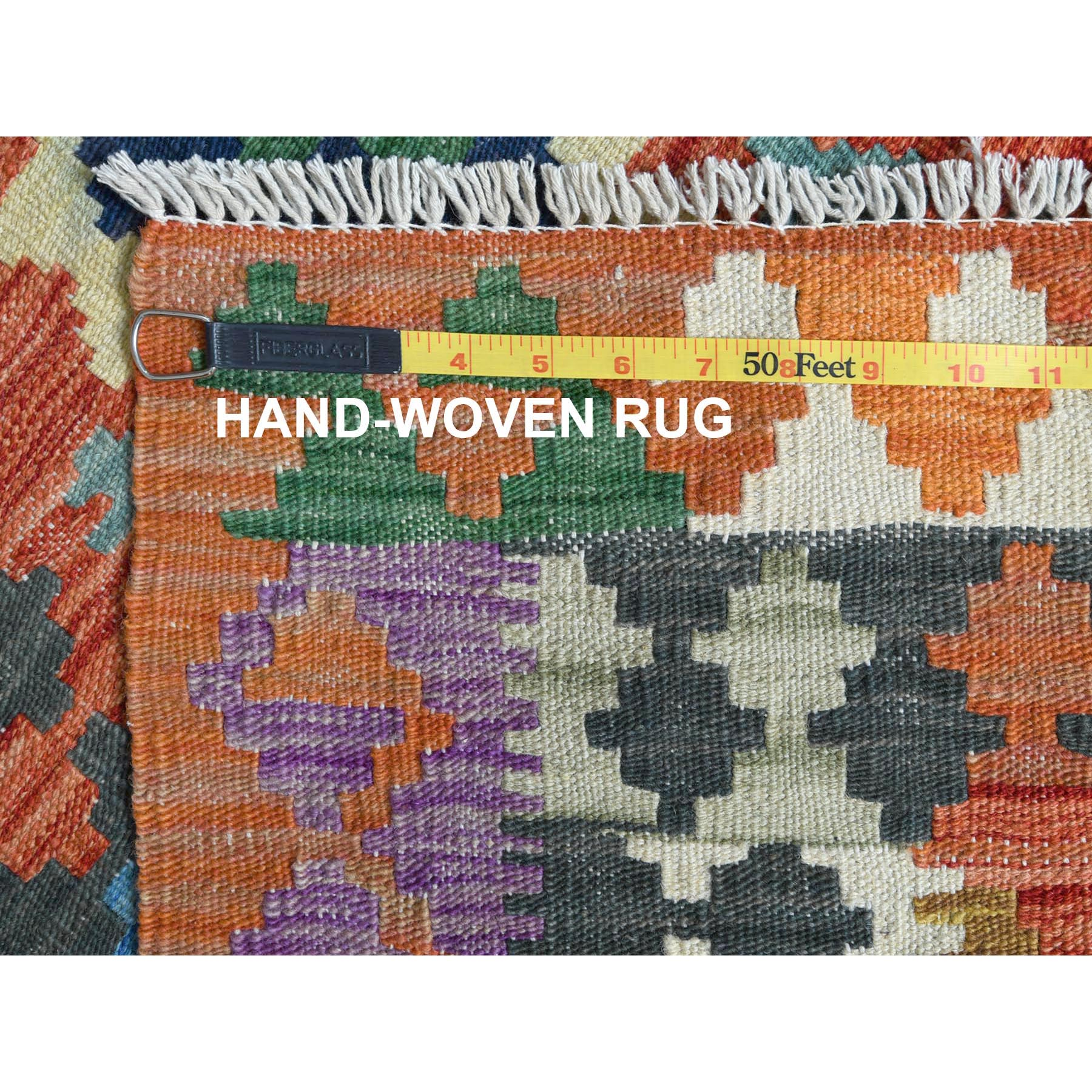 "2'10""x3'9"" Colorful Geometric Design Afghan Kilim Reversible Organic Wool Hand Woven Oriental Rug"