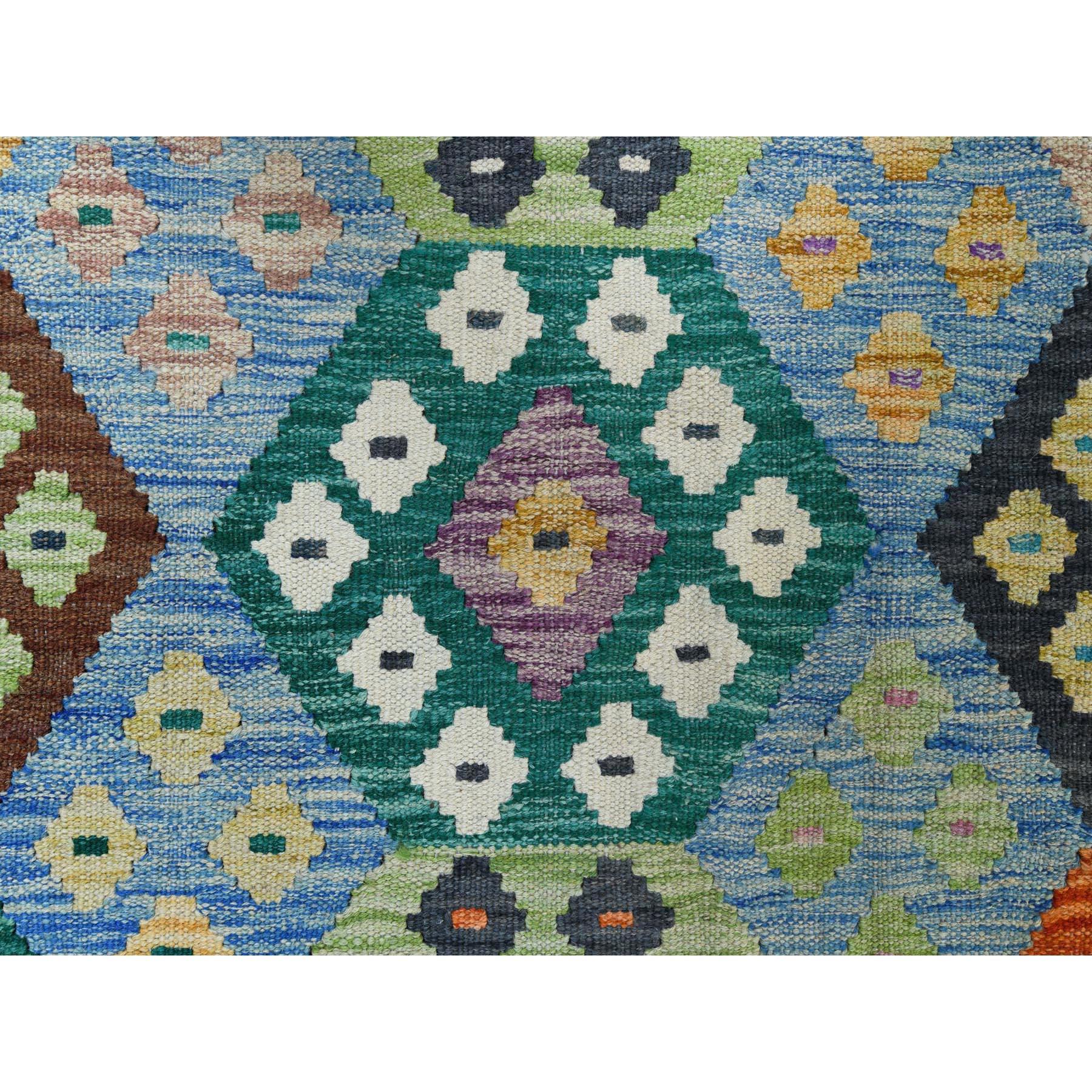"8'2""x11'7"" Hand Woven Vibrant Wool Afghan Kilim Colorful Geometric Design Oriental Reversible Rug"
