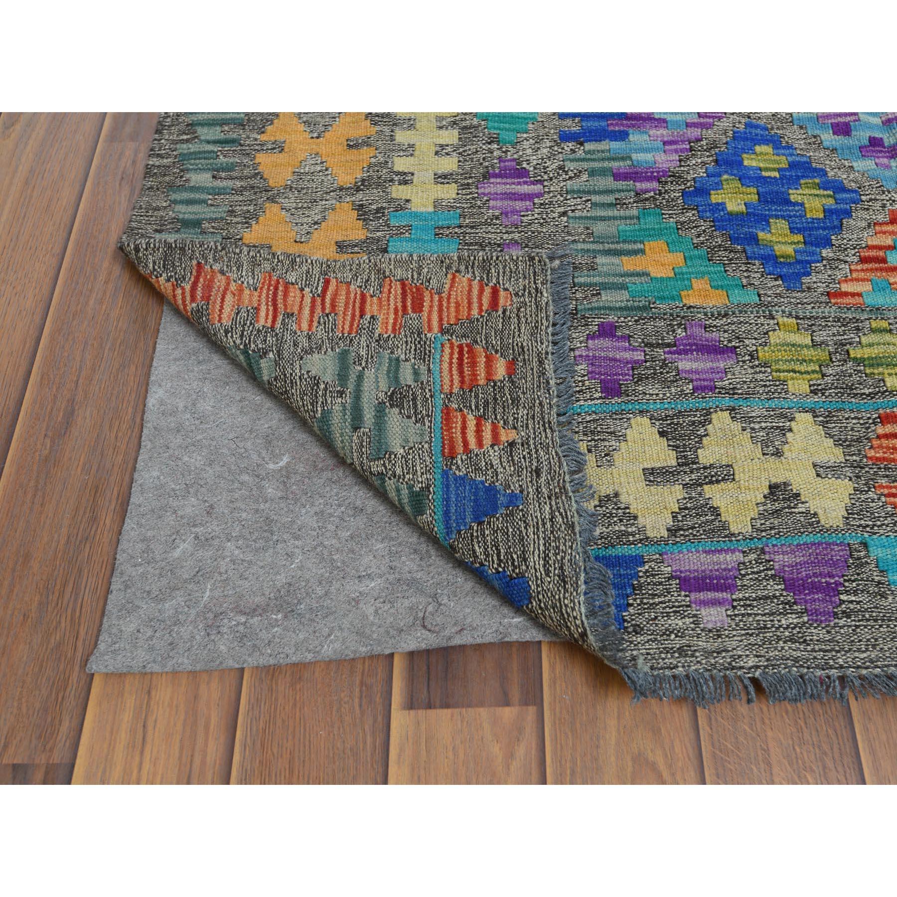 "8'7""x11'8"" Hand Spun Wool Colorful Afghan Kilim Nomadic Design Hand Woven Oriental Reversible Rug"
