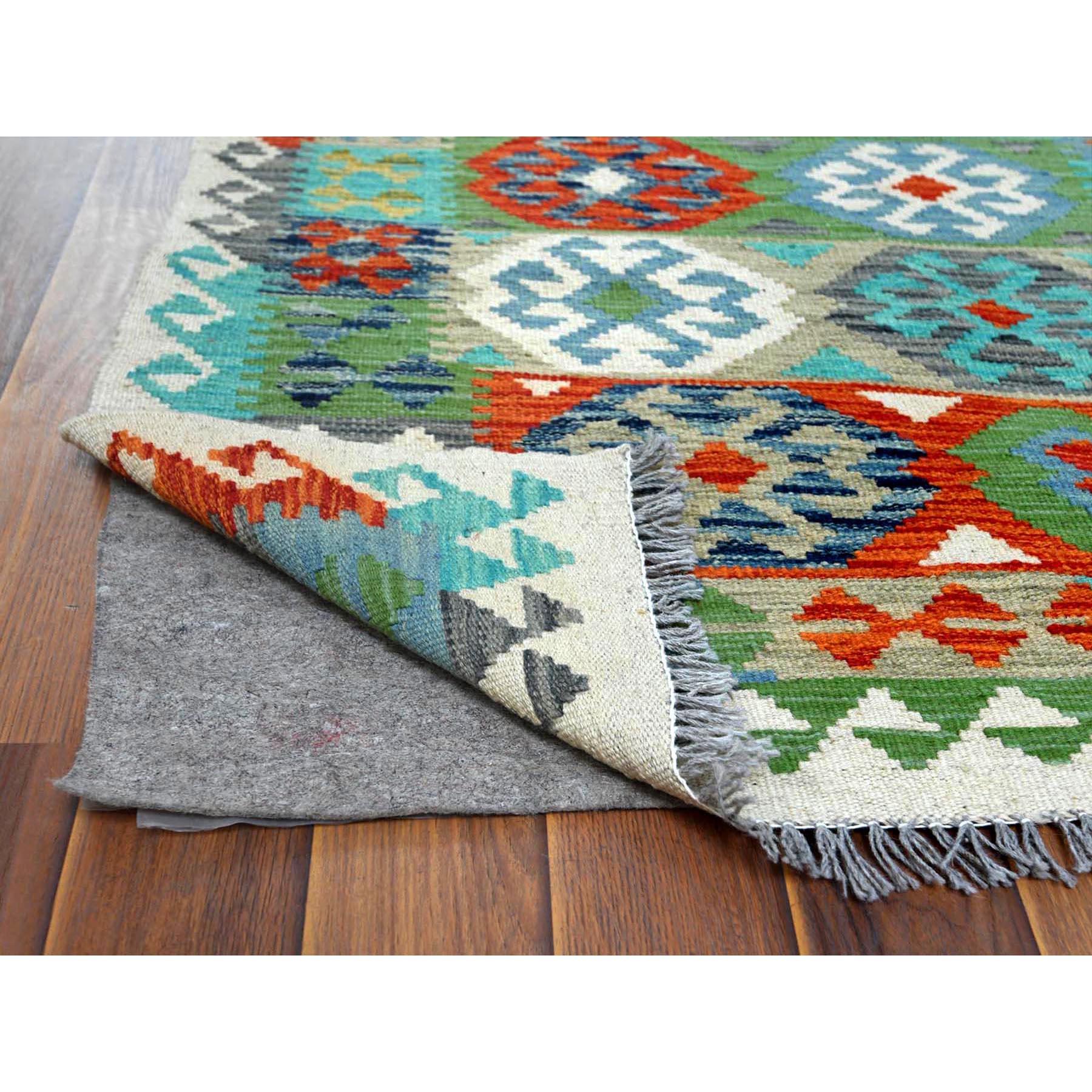 "2'8""x12'8"" Green Afghan Kilim Tribal And Geometric Design Glimmery Wool Hand Woven Oriental Runner Reversible Rug"