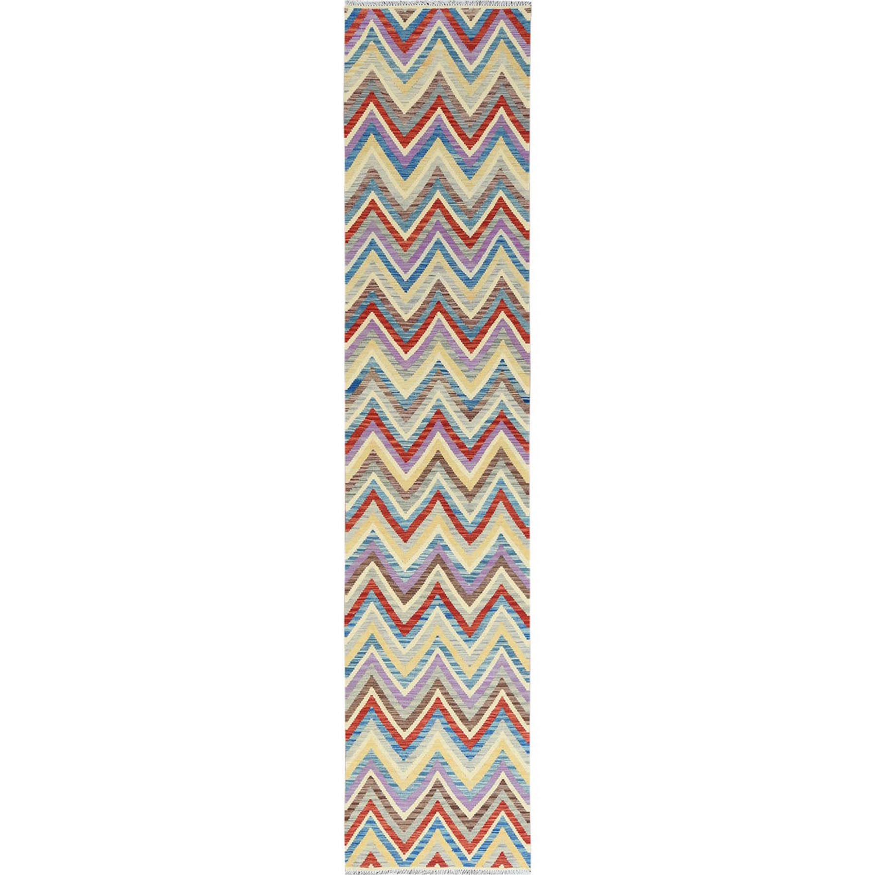 """2'8""""x13"""" Chevron Design Colorful Afghan Kilim In A Colorful Palette Shiny Wool Hand Woven Oriental Runner Reversible Rug"""