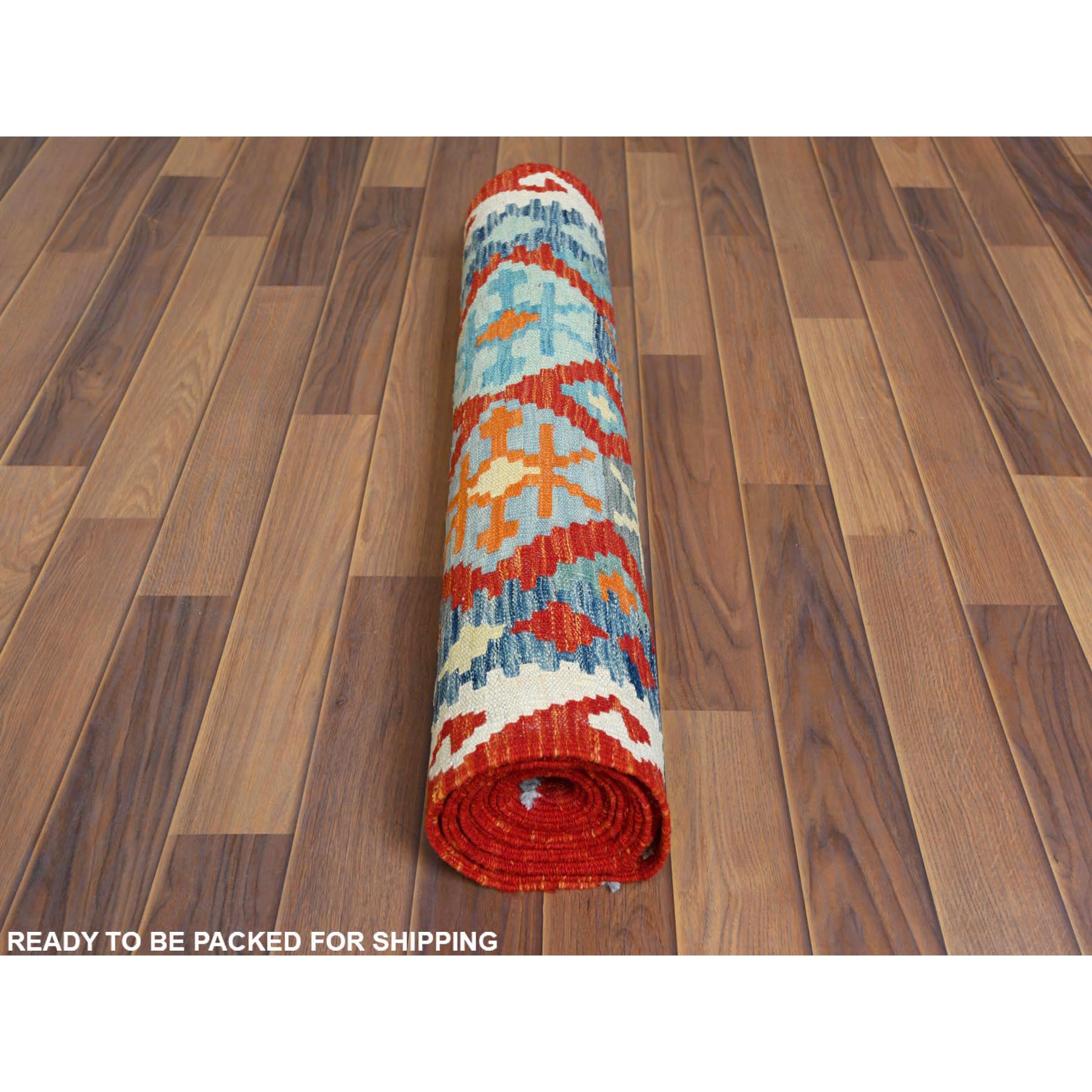 "2'9""x16' Hand Woven Colorful Afghan Kilim Tribal Design Vibrant Wool Reversible Oriental XL Runner Rug"