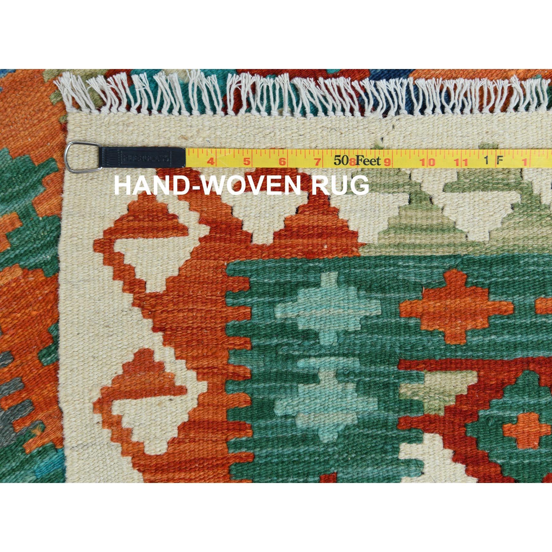 "2'4""x6'1"" Hand Woven Afghan Kilim Colorful Primitive Design Shiny Wool Oriental Reversible Runner Rug"