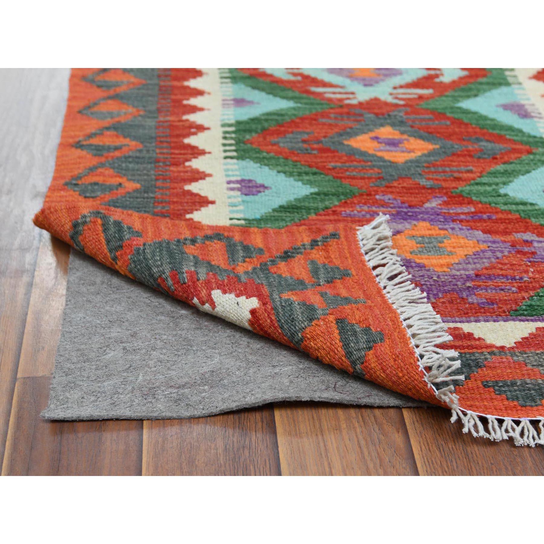 "2'2""x6'2"" Colorful Afghan Kilim Nomadic Design Luxurious Wool Hand Woven Oriental Runner Reversible Rug"