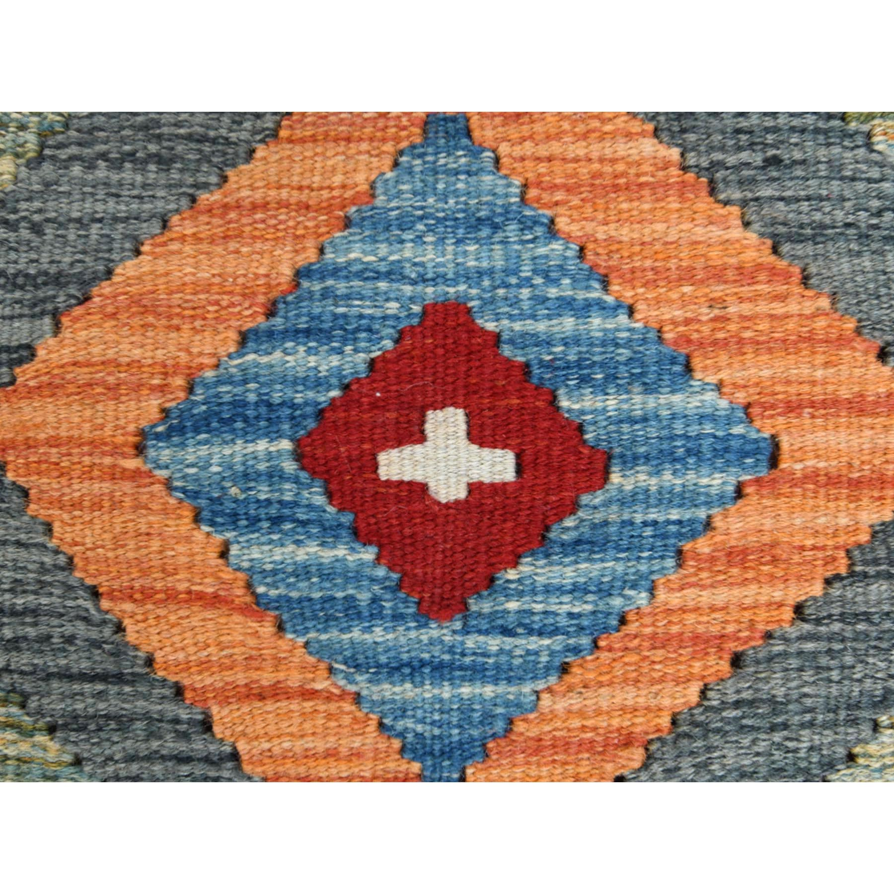 """2'3""""x6'3"""" Colorful Afghan Kilim In A Colorful Palette Geometric Design Glimmery Wool Hand Woven Oriental Runner Reversible Rug"""