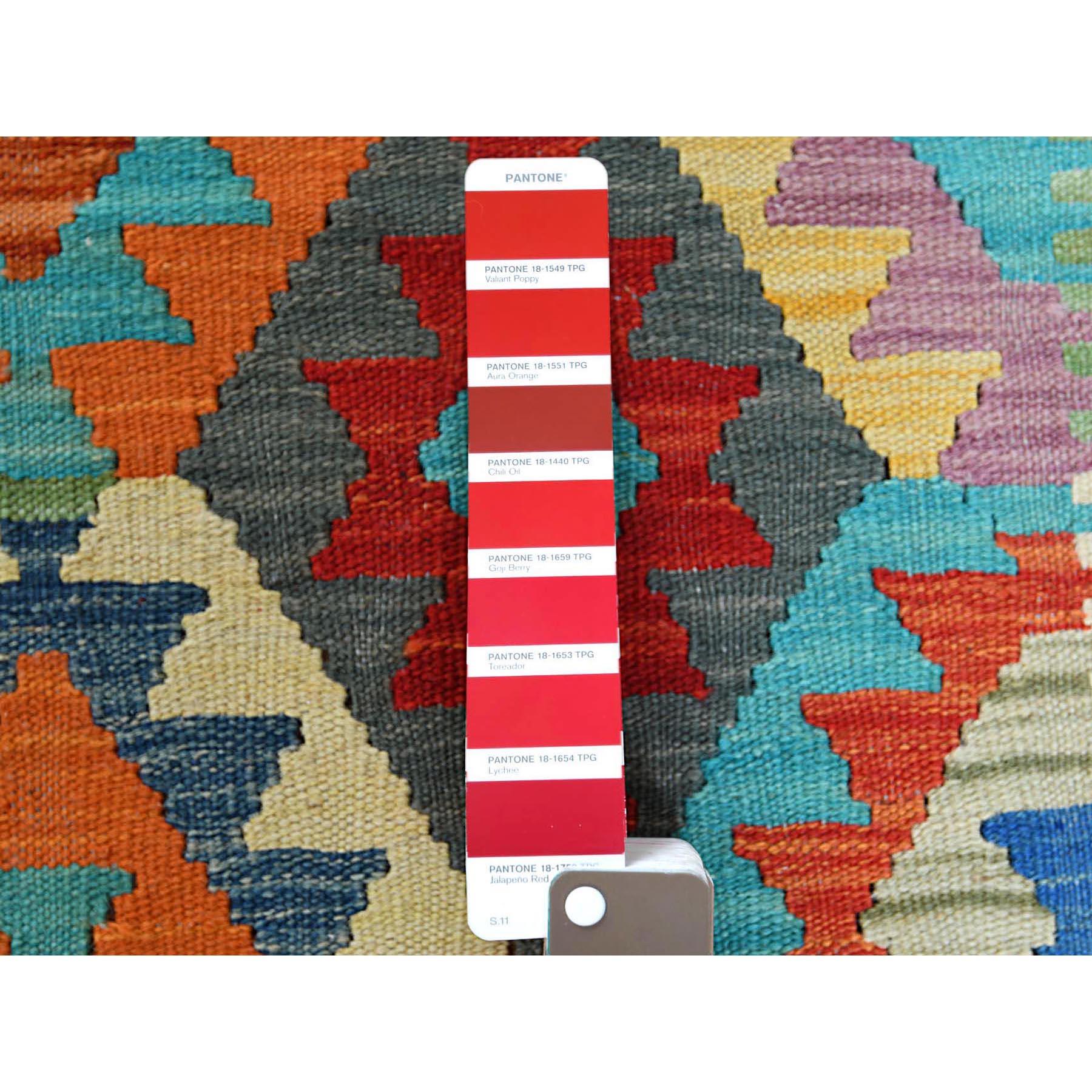 "2'8""x6'4"" Afghan Kilim Colorful Geometric Design Natural Wool Hand Woven Oriental Reversible Runner Rug"