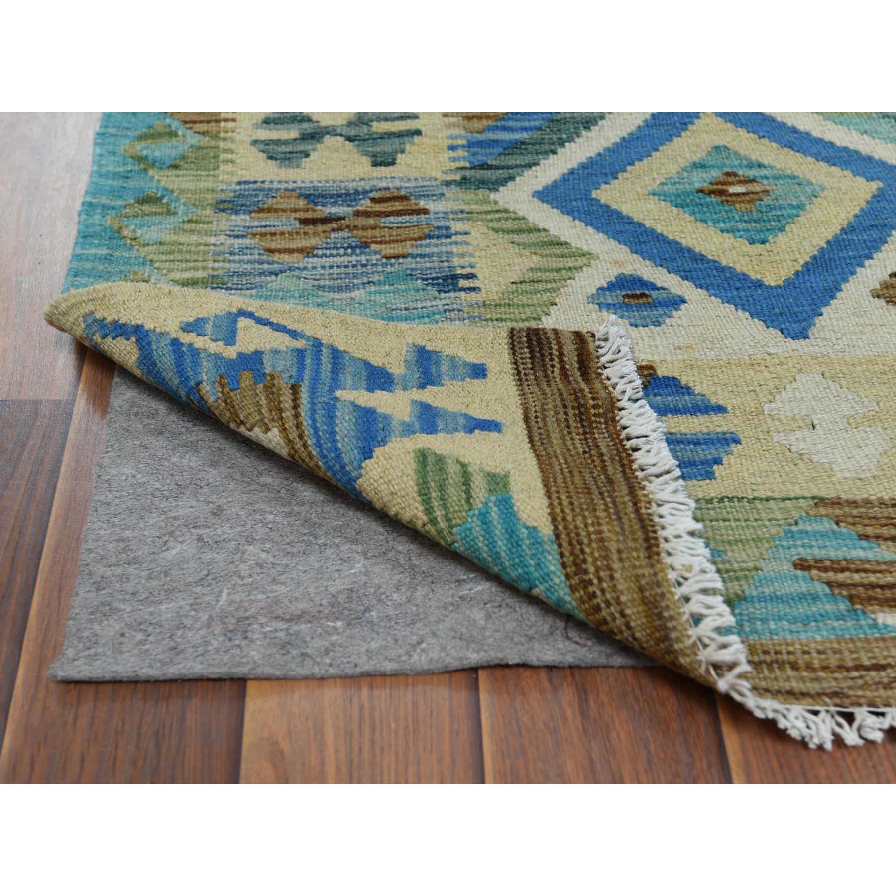 "2'5""x6'8"" Light Green Geometric Design Afghan Kilim Reversible Organic Wool Hand Woven Oriental Runner Rug"