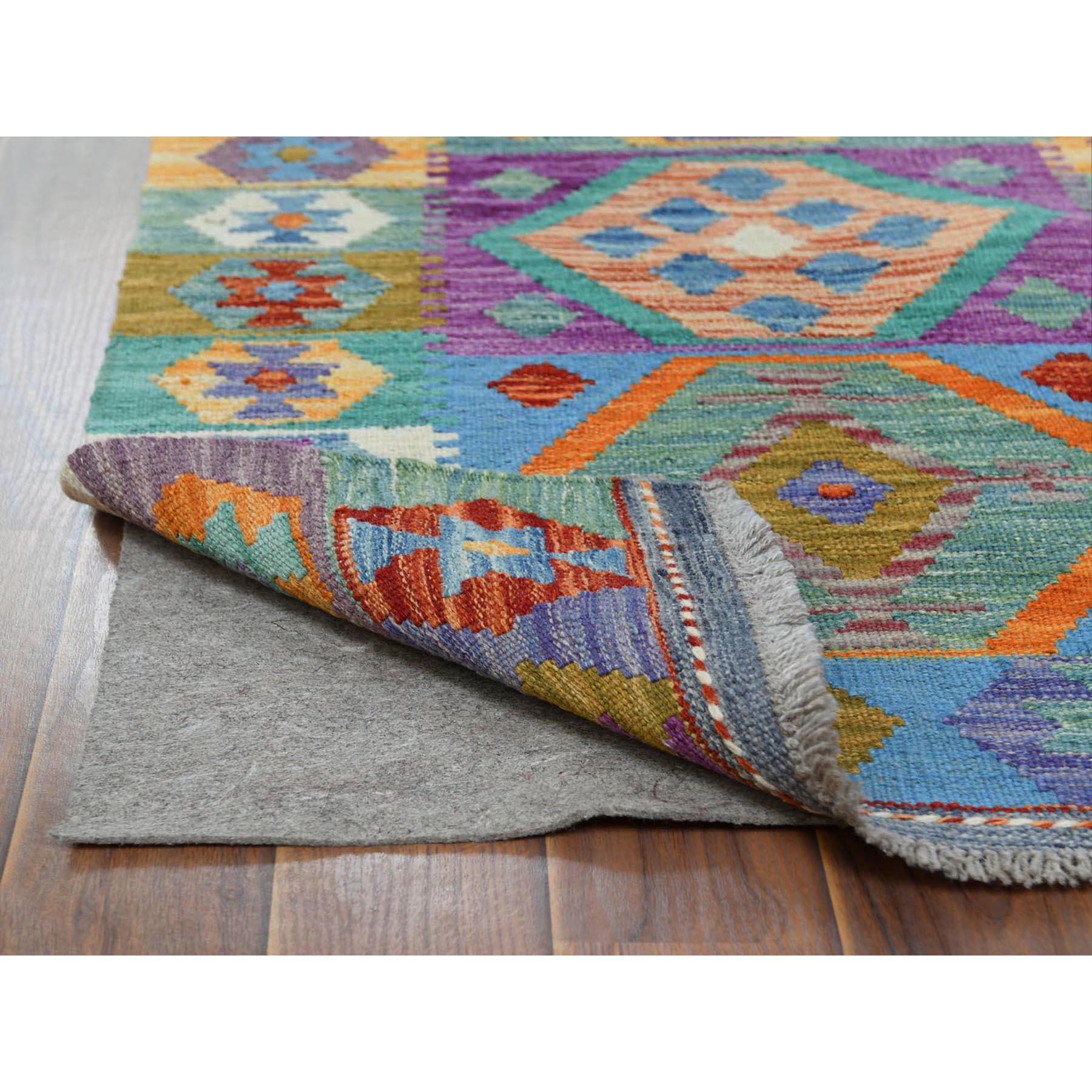 "2'2""x6'1"" Colorful Geometric Design Afghan Kilim Reversible Organic Wool Hand Woven Oriental Runner Rug"