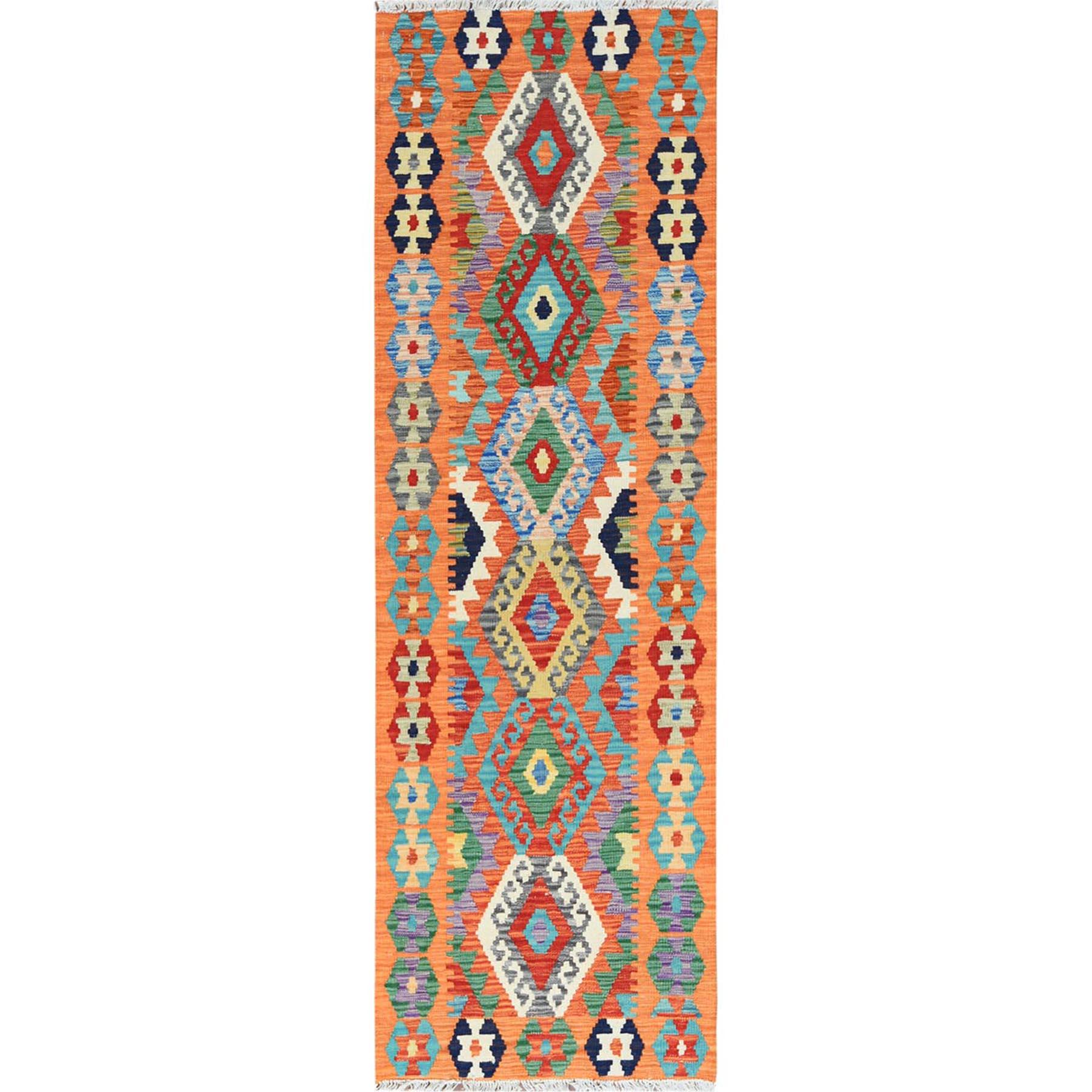 "2'4""x6'6"" Geometric Design Orange Afghan Kilim Reversible Herbal Wash Natural Wool Hand Woven Ethnic Oriental Runner Rug"
