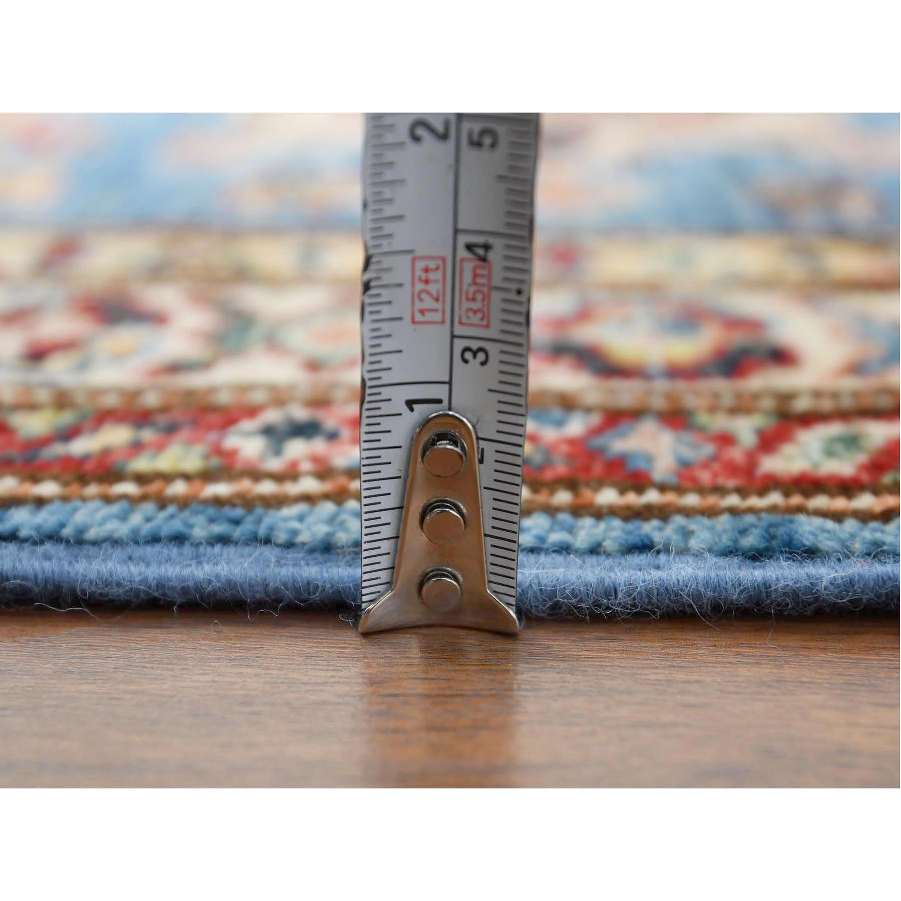 "2'x5'9"" Blue Super Kazak Nomadic Design Hand Knotted Shiny Wool Oriental Runner Rug"