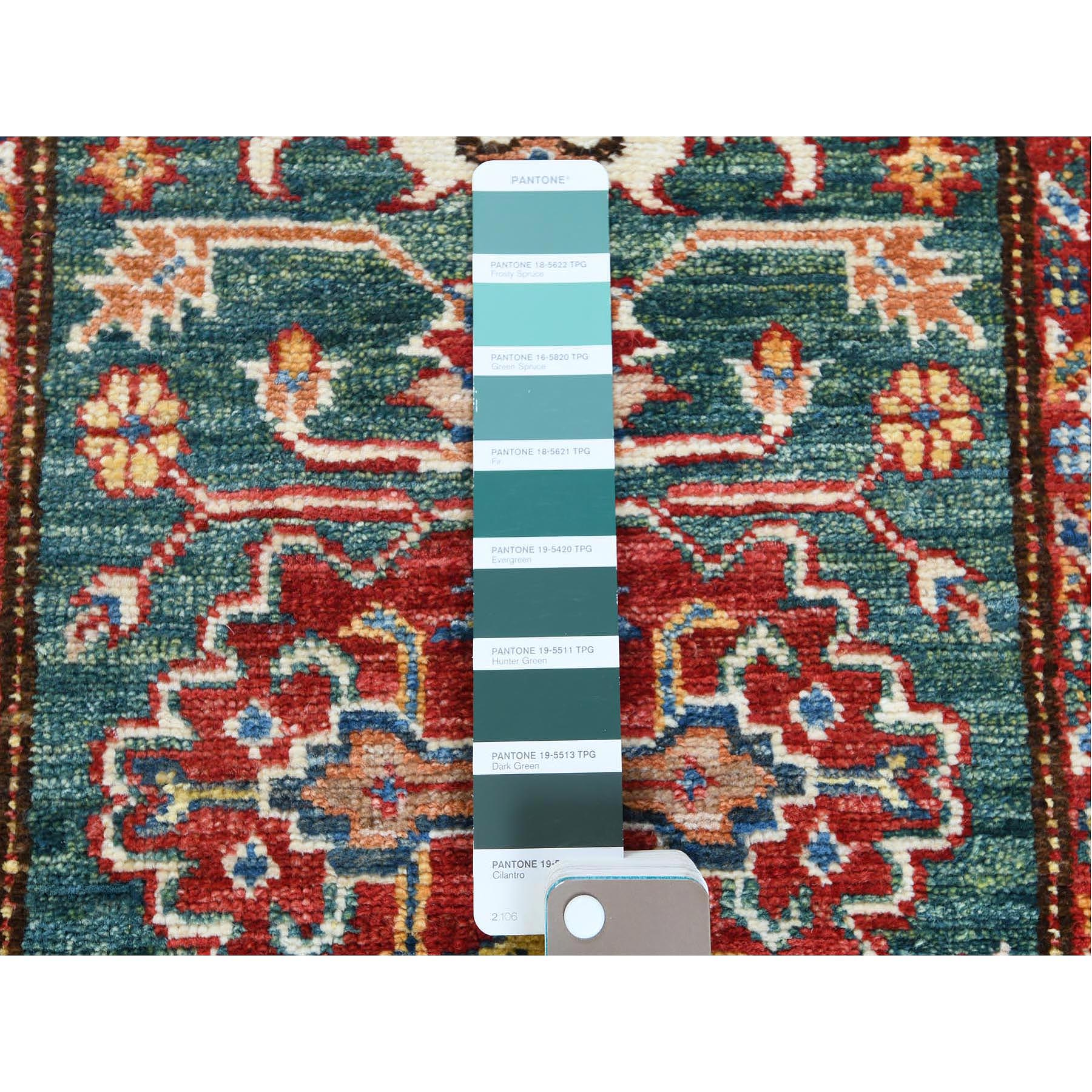 "2'x6'5"" Hand Knotted Green Geometric Design Super Kazak Vibrant Wool Oriental Runner Rug"
