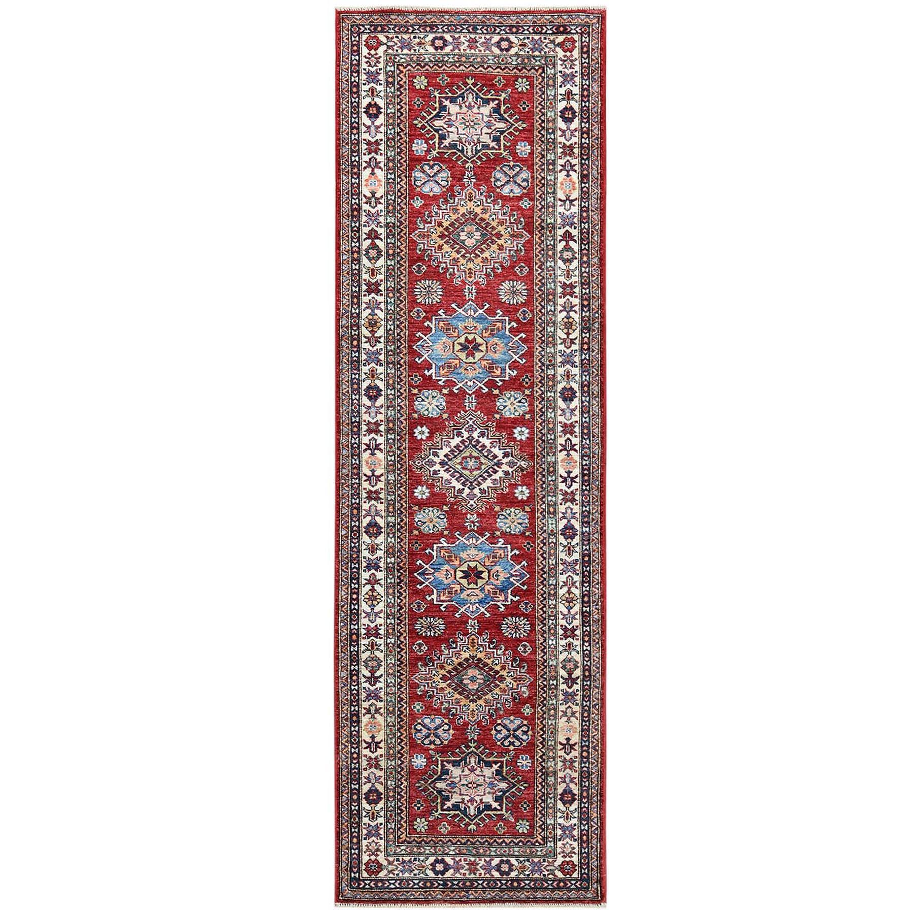 "2'6""x8'5"" Red Super Kazak Primitive Design Hand Knotted Shiny Wool Oriental Runner Rug"